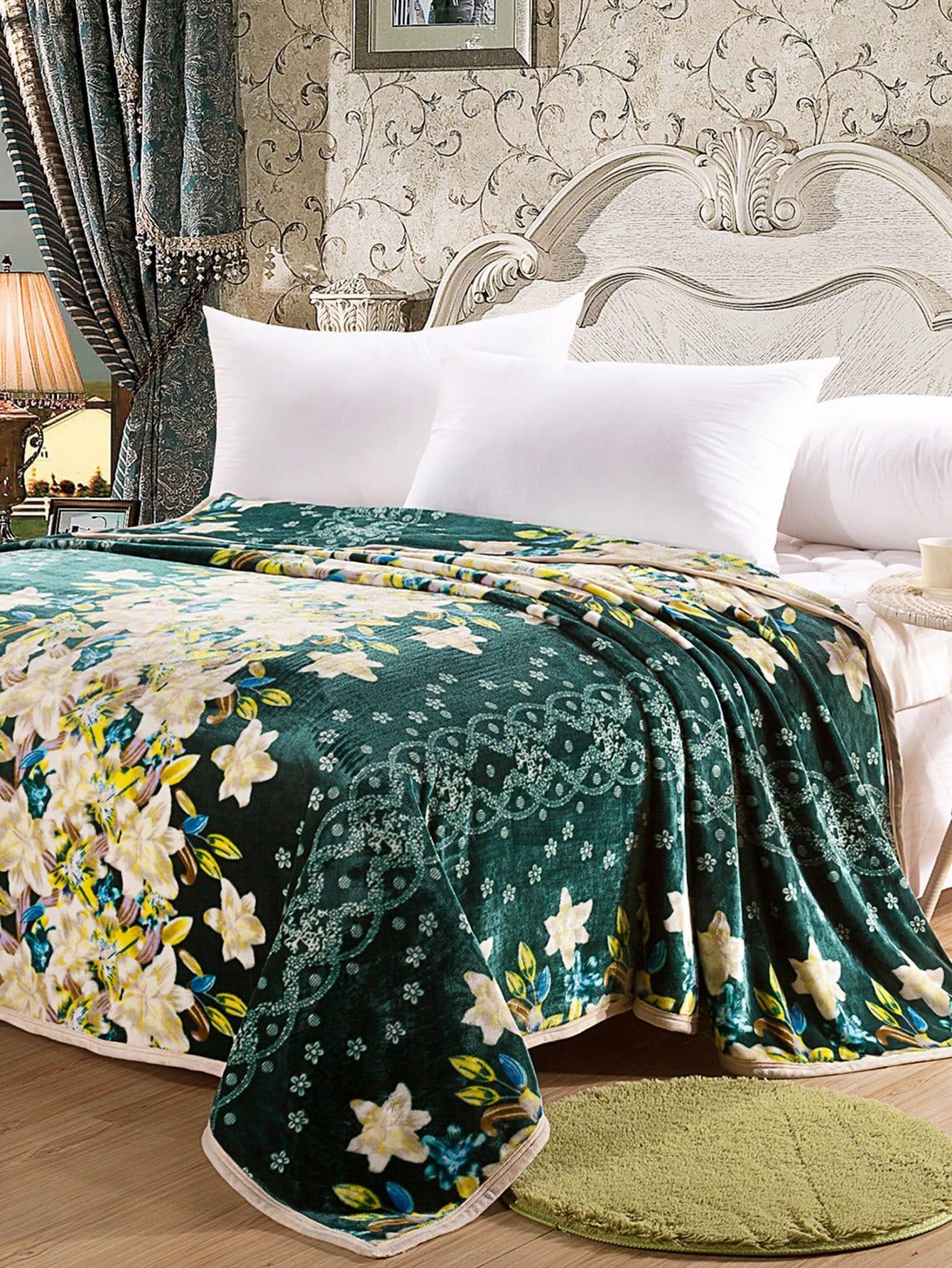 All Over Florals Plush Blanket all over florals dip hem shirt