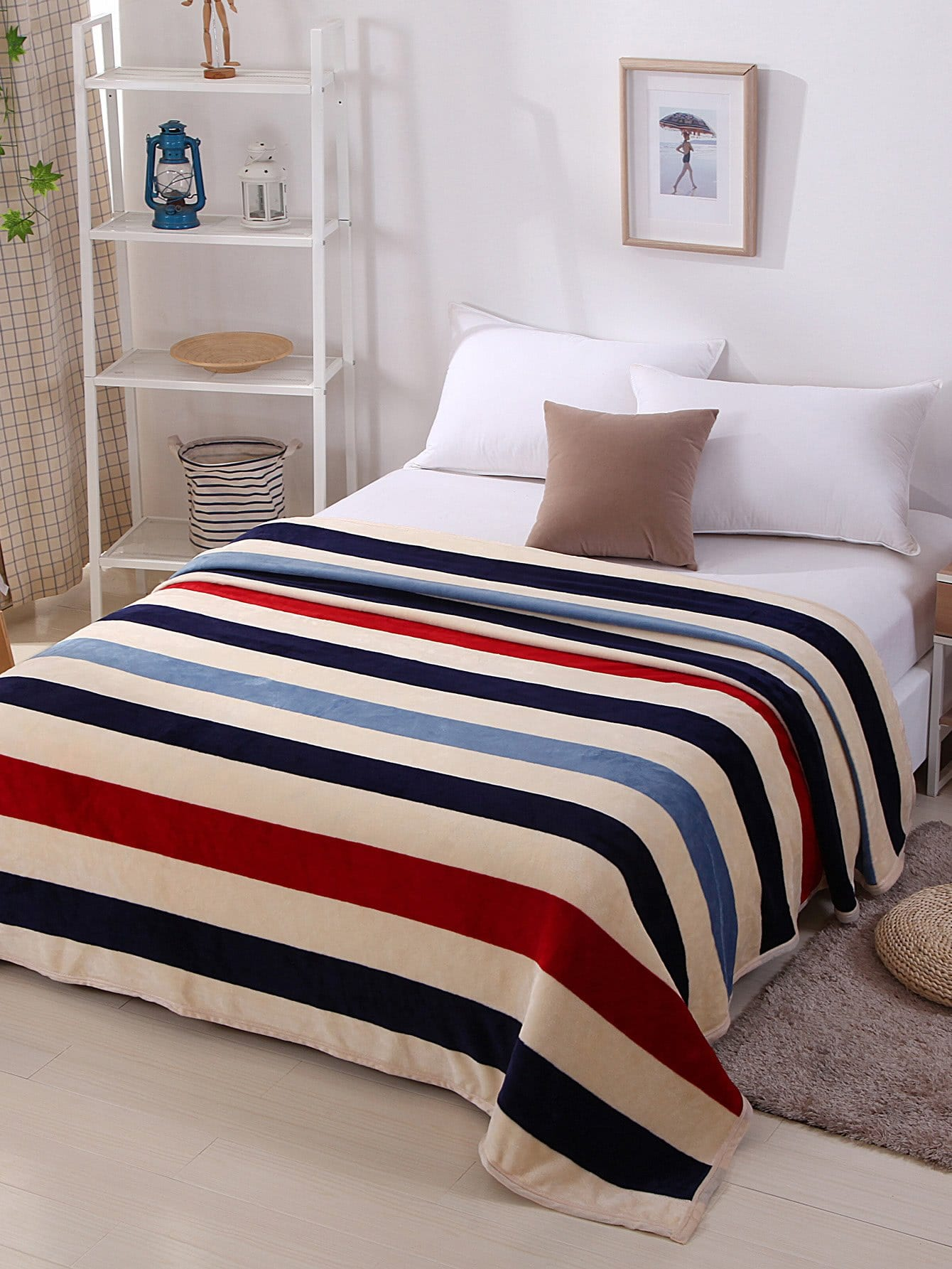 Multi Stripe Plush Blanket
