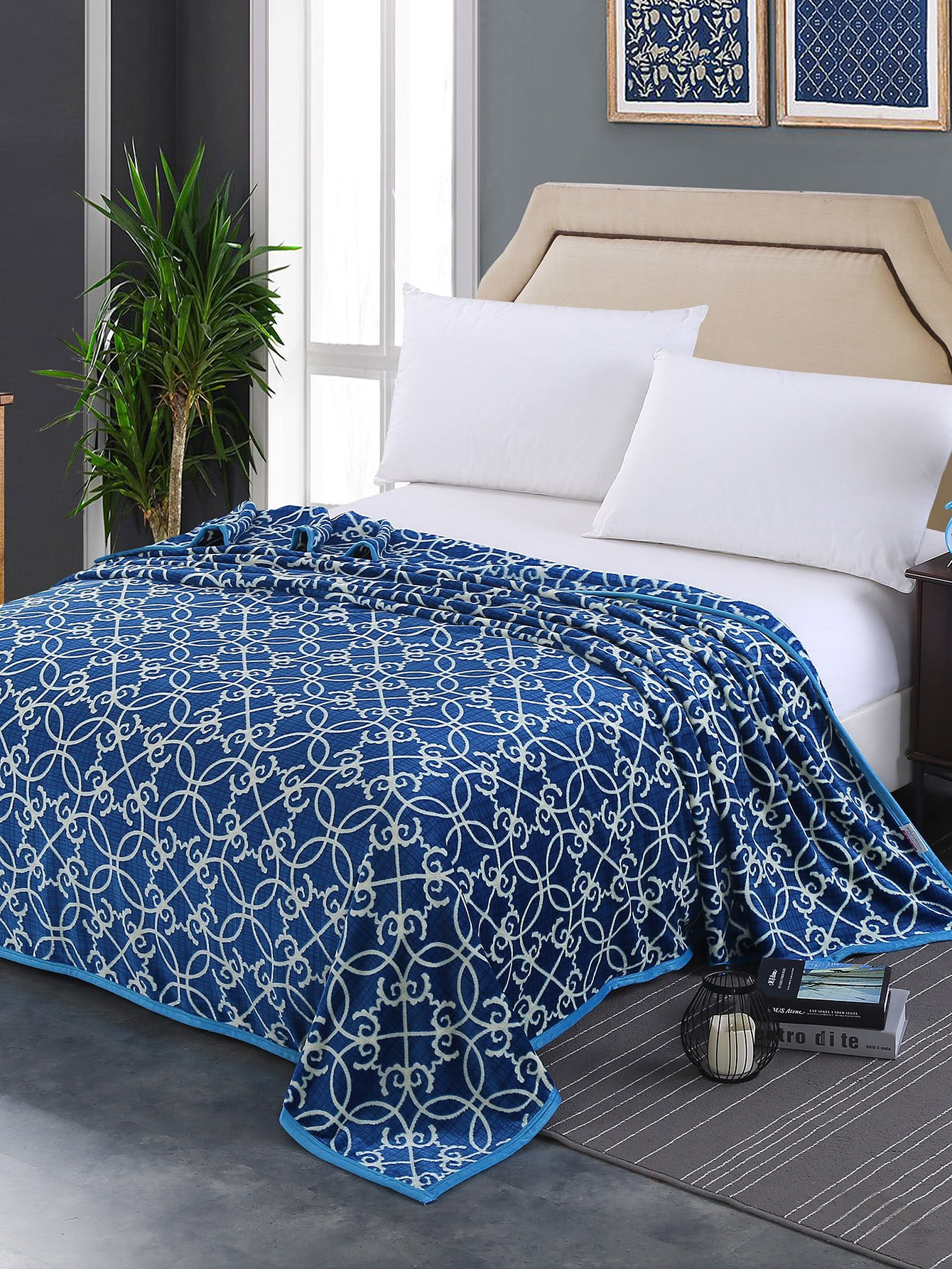 Seamless Pattern Plush Blanket double plush blanket with wave point thickening