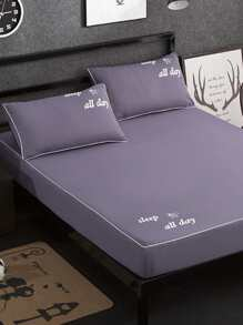 Letter Print Full Covered Bed Cover Set ROMWE