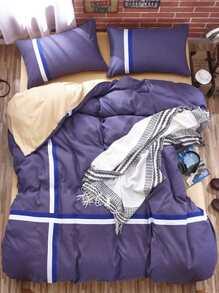 Striped Colorblock Bed Sheet Set ROMWE