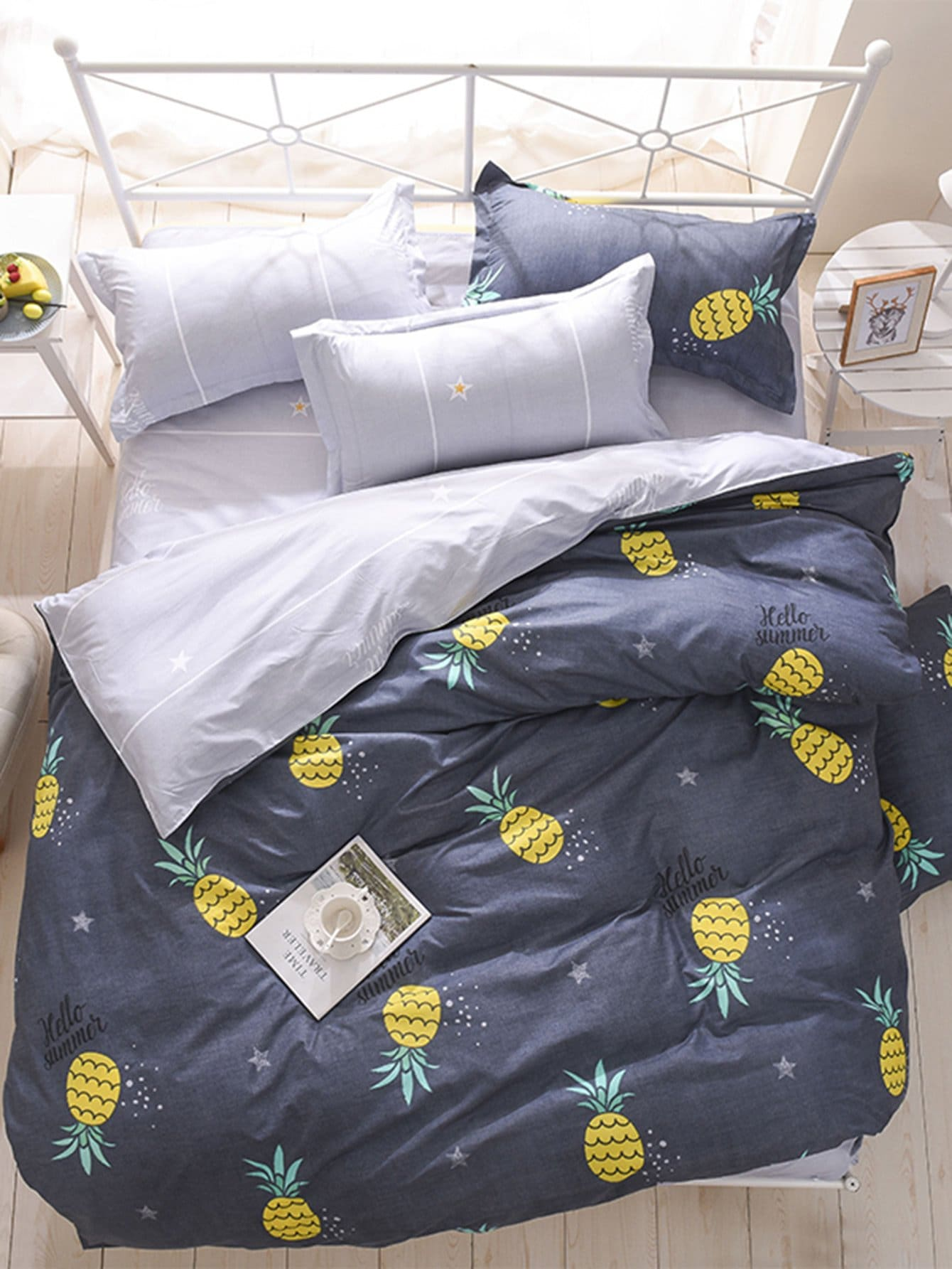 Pineapple Print Bedding Set heart print bedding set