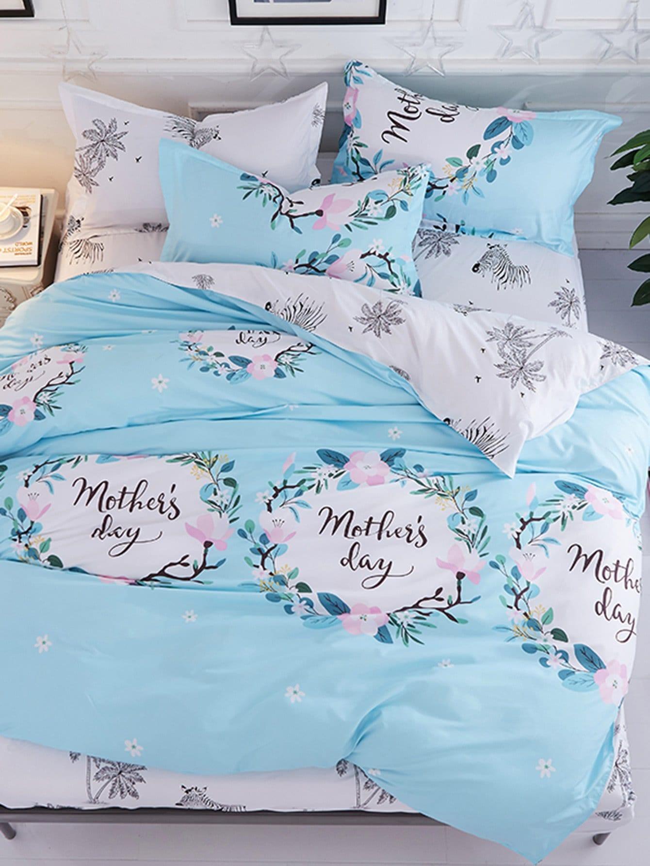 Купить Комплект для кровати с принтом джунгли и надпись, null, SheIn