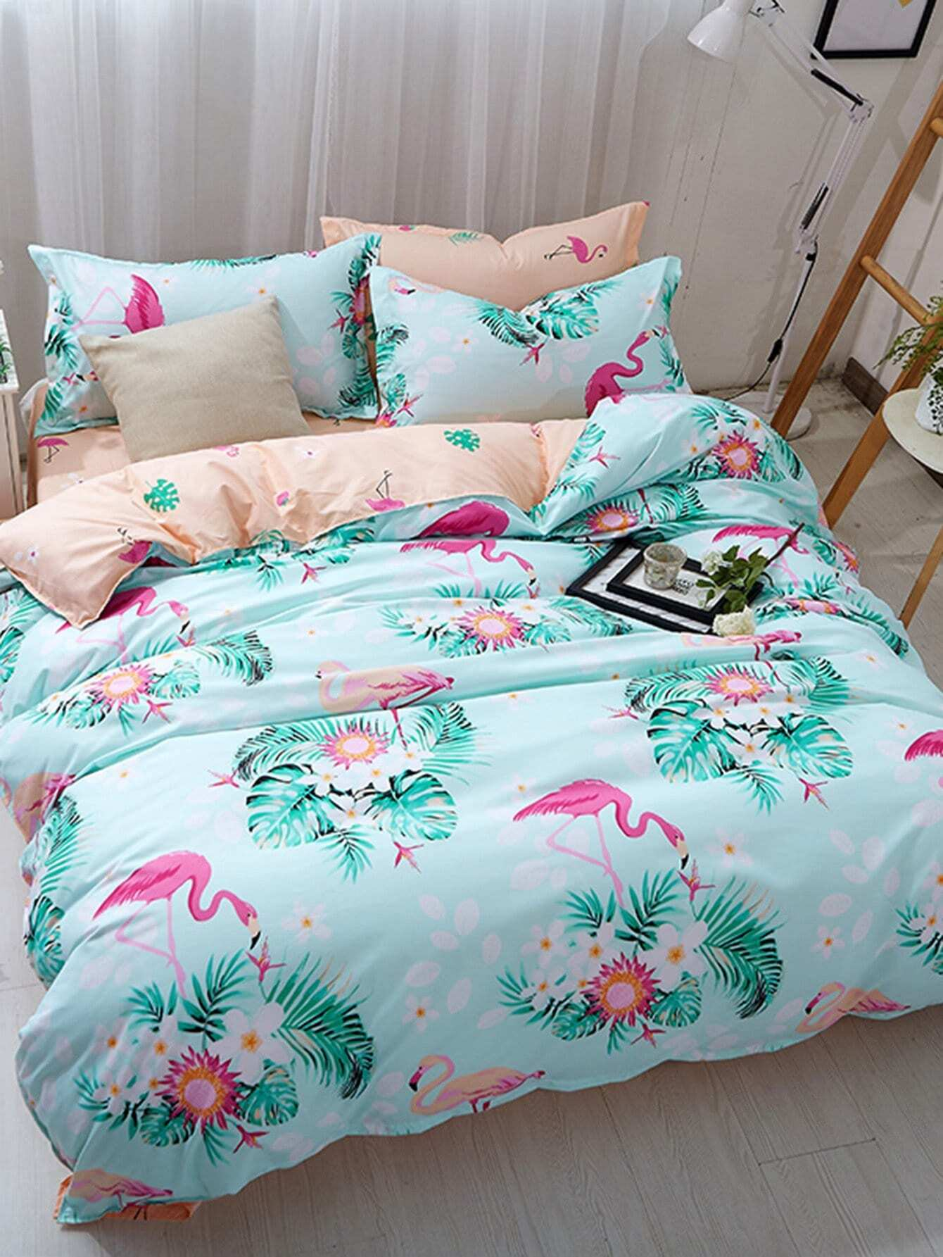 Flamingo & Letter Print Bedding Set letter print two tone bedding set