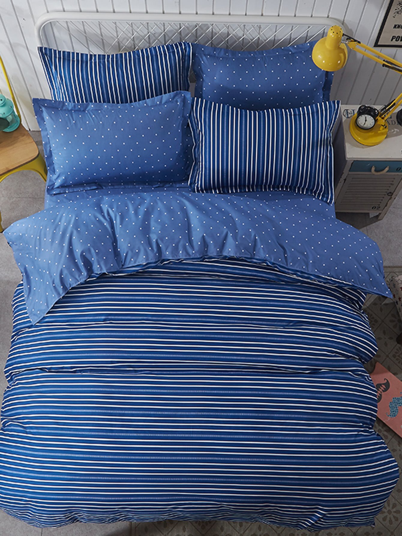 Striped & Dot Bedding Set vertical striped bedding set