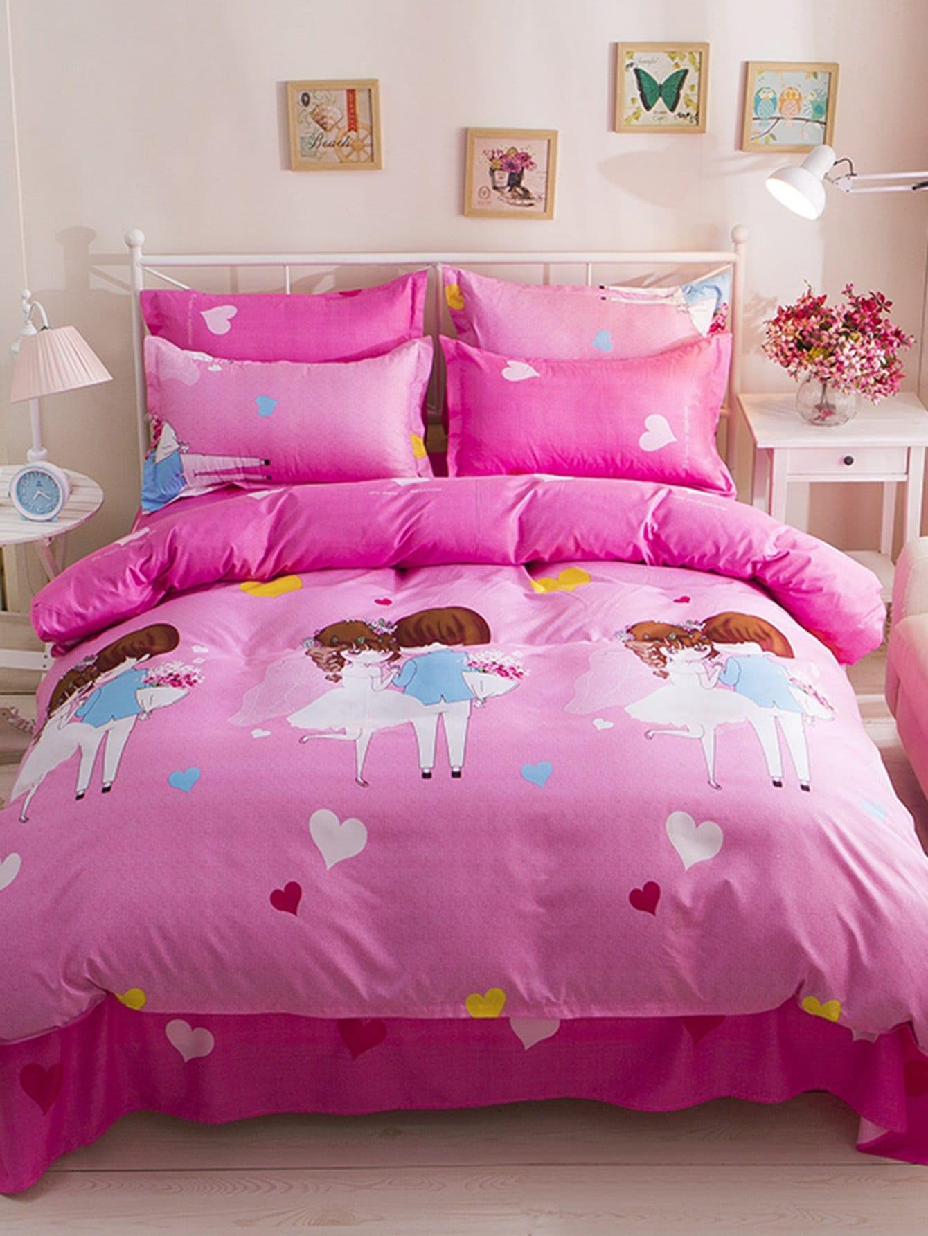 Figure & Heart Print Bedding Set heart print bedding set