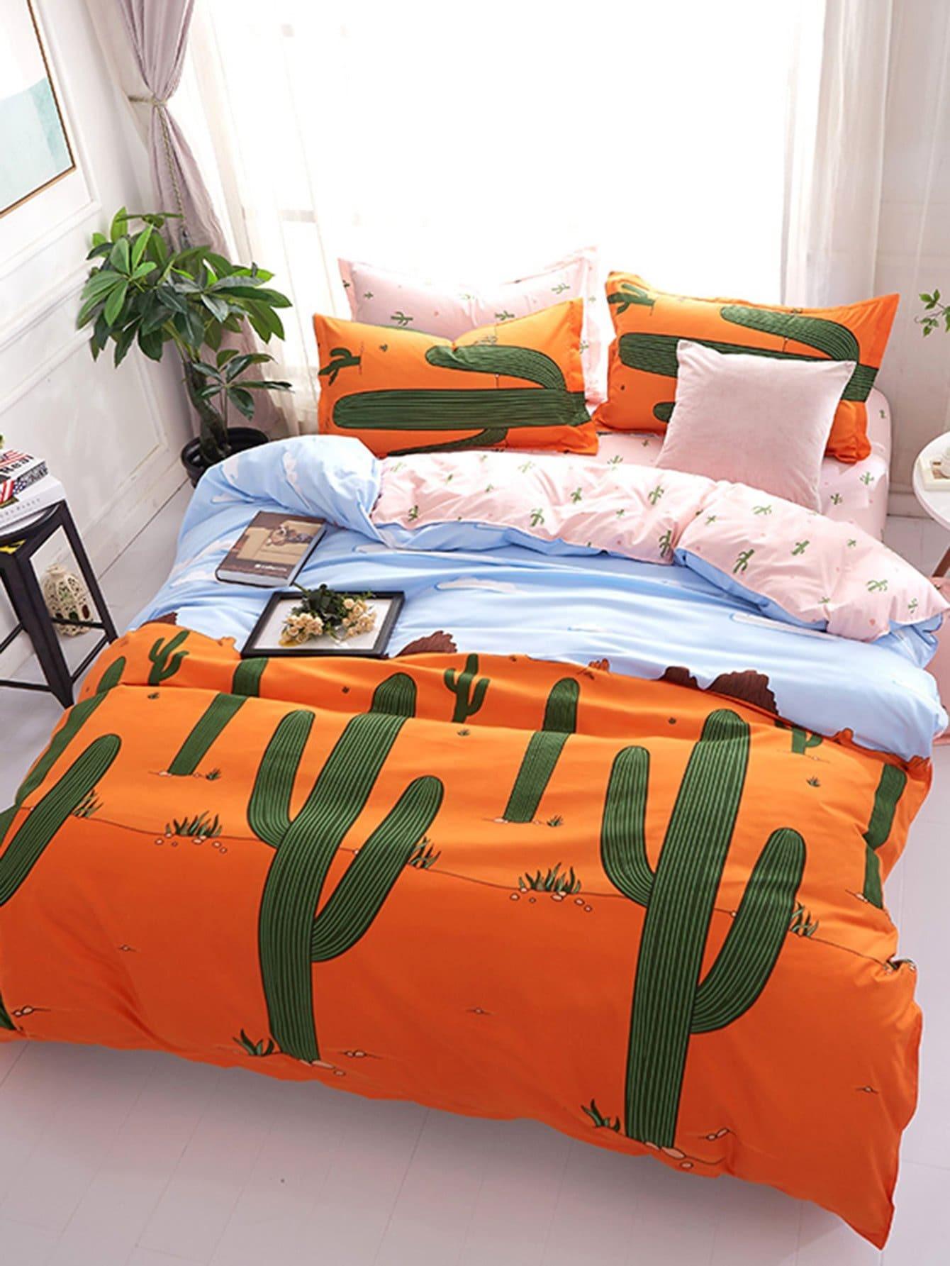 Купить Комплект для кровати с принтом кактуса, null, SheIn