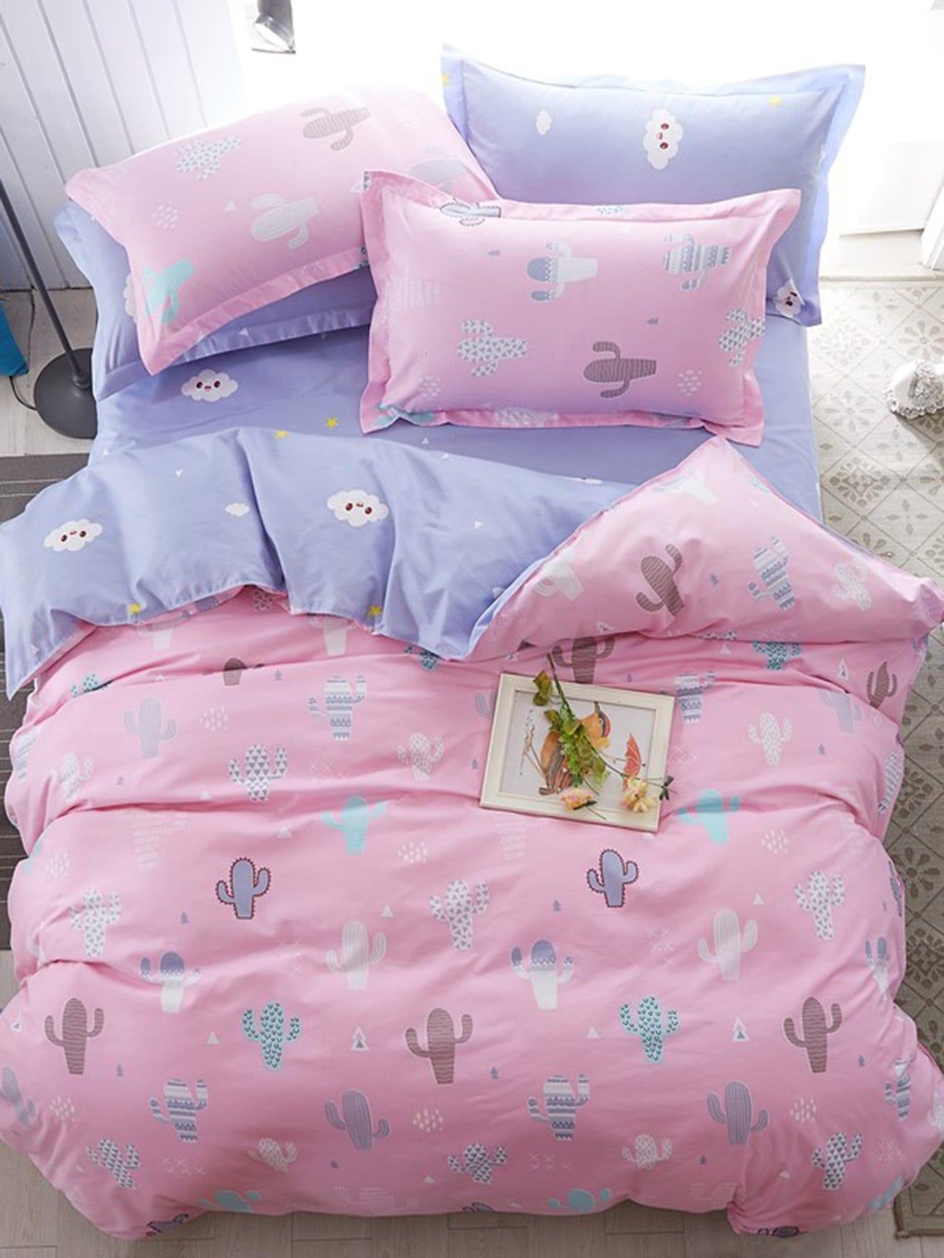 Купить Комплект для кровати с принтом кактусы и облака, null, SheIn