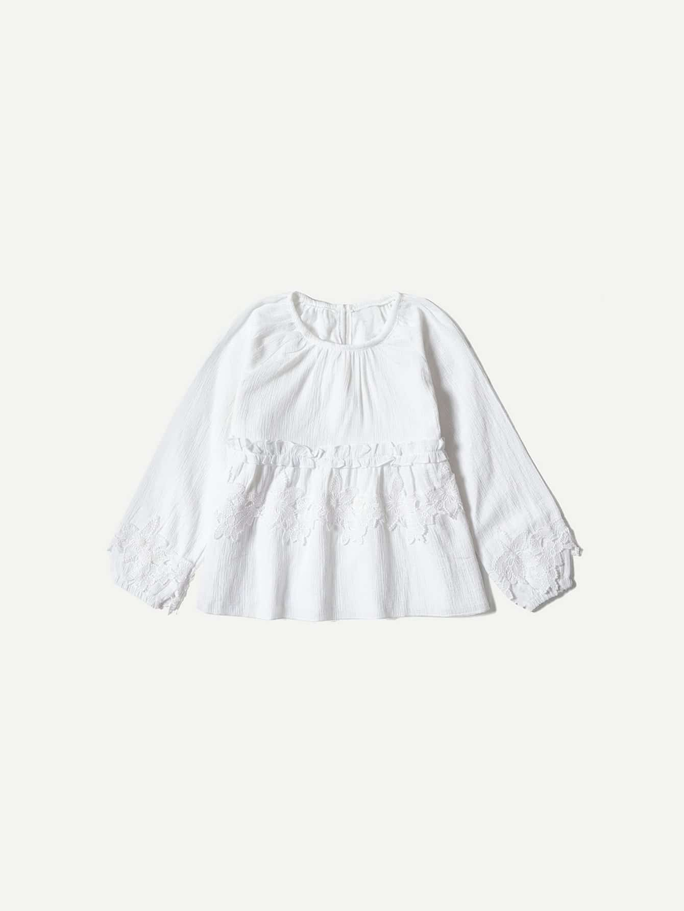 Girls Frill Trim Lace Applique Blouse