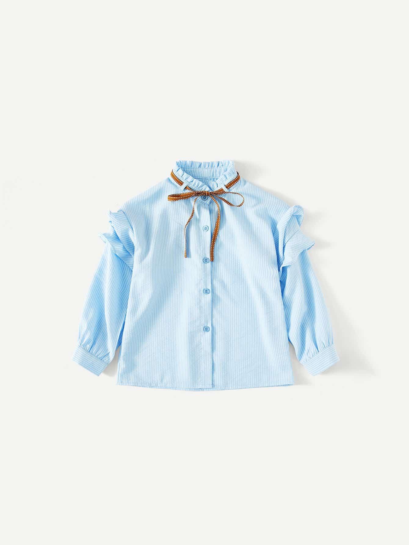 Девочки Жабо Отделкой Рубашка В Полоску