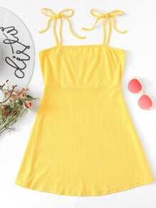 Tie Strap Ribbed Dress ROMWE