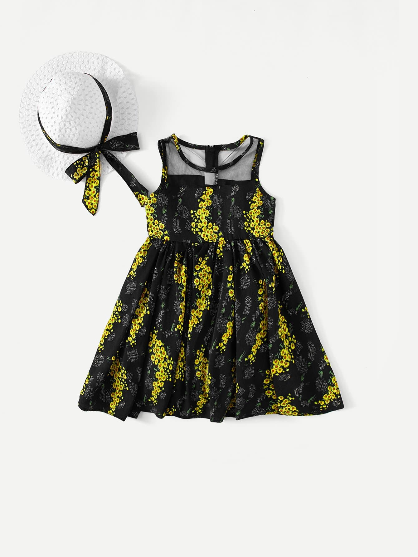 Girls Mesh Panel Daisy Print Dress With Hat