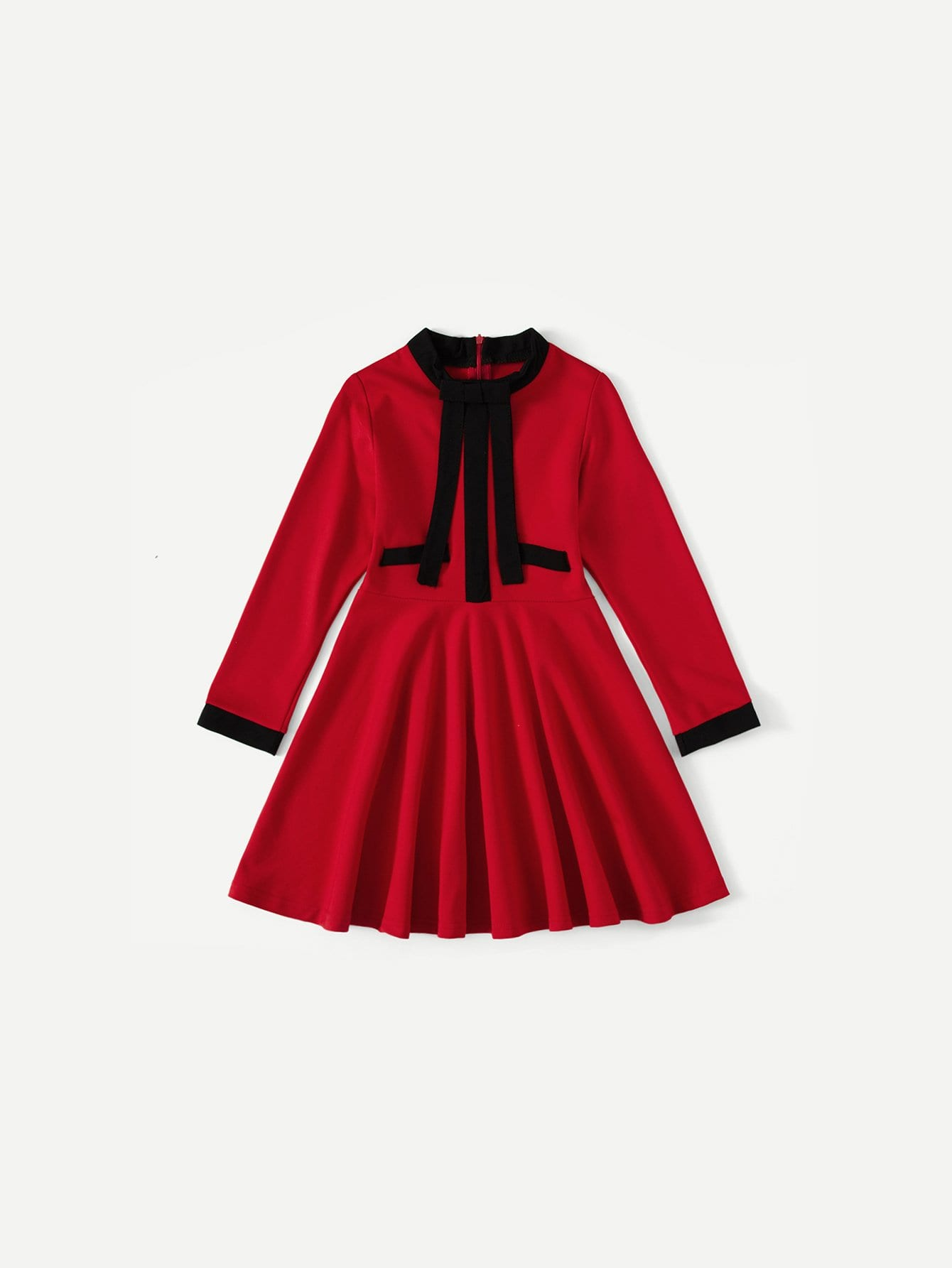 Kids Contrast Trim Bow Detail Dress bow detail longline dress