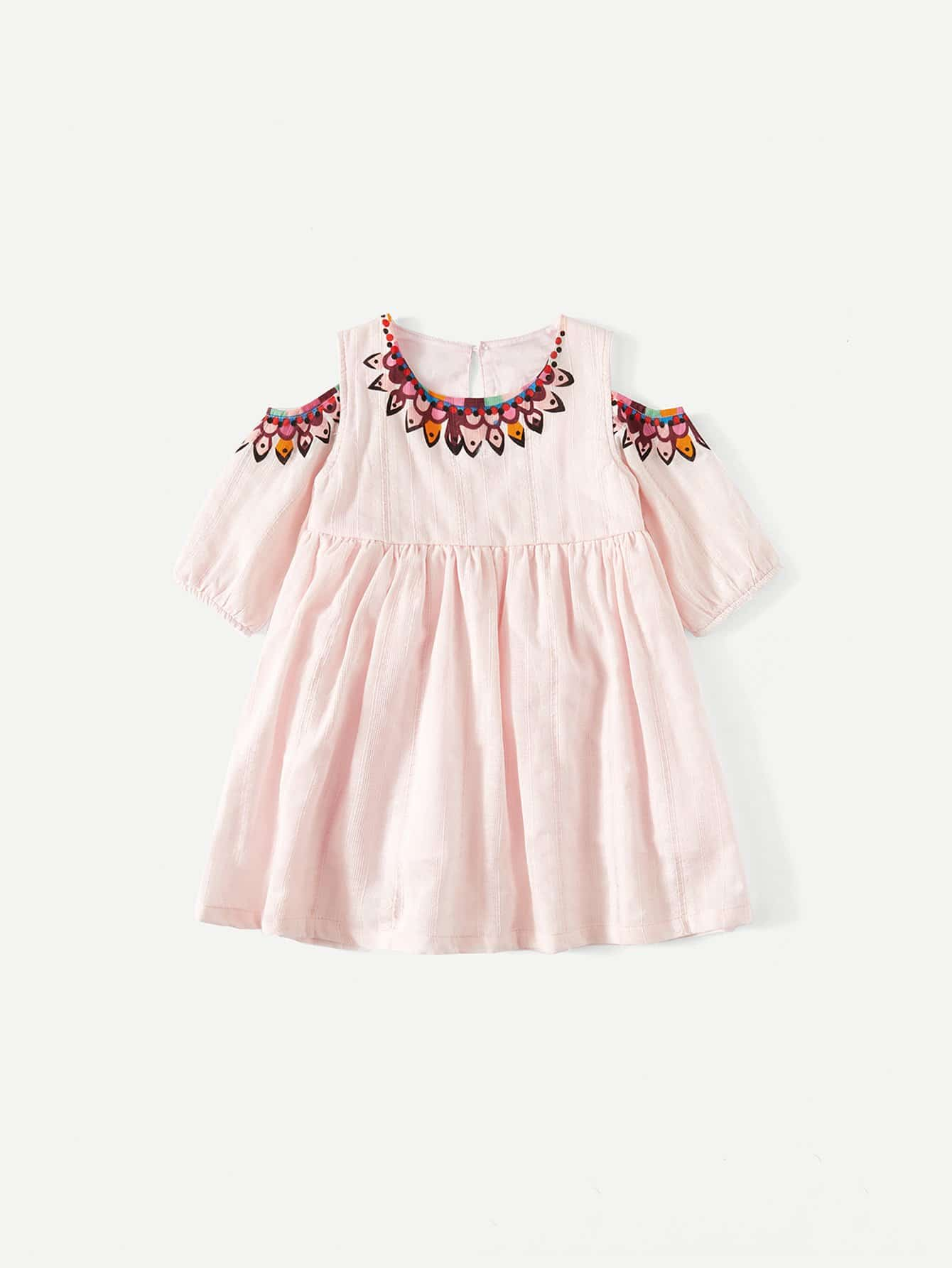 Girls Open Shoulder Printed Dress