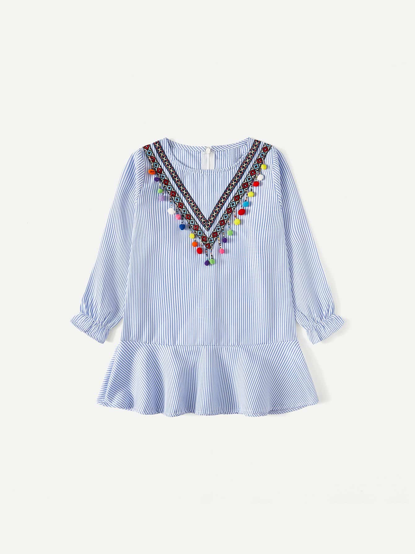 Girls Embroidered Tape Detail Pom Ruffle Dress