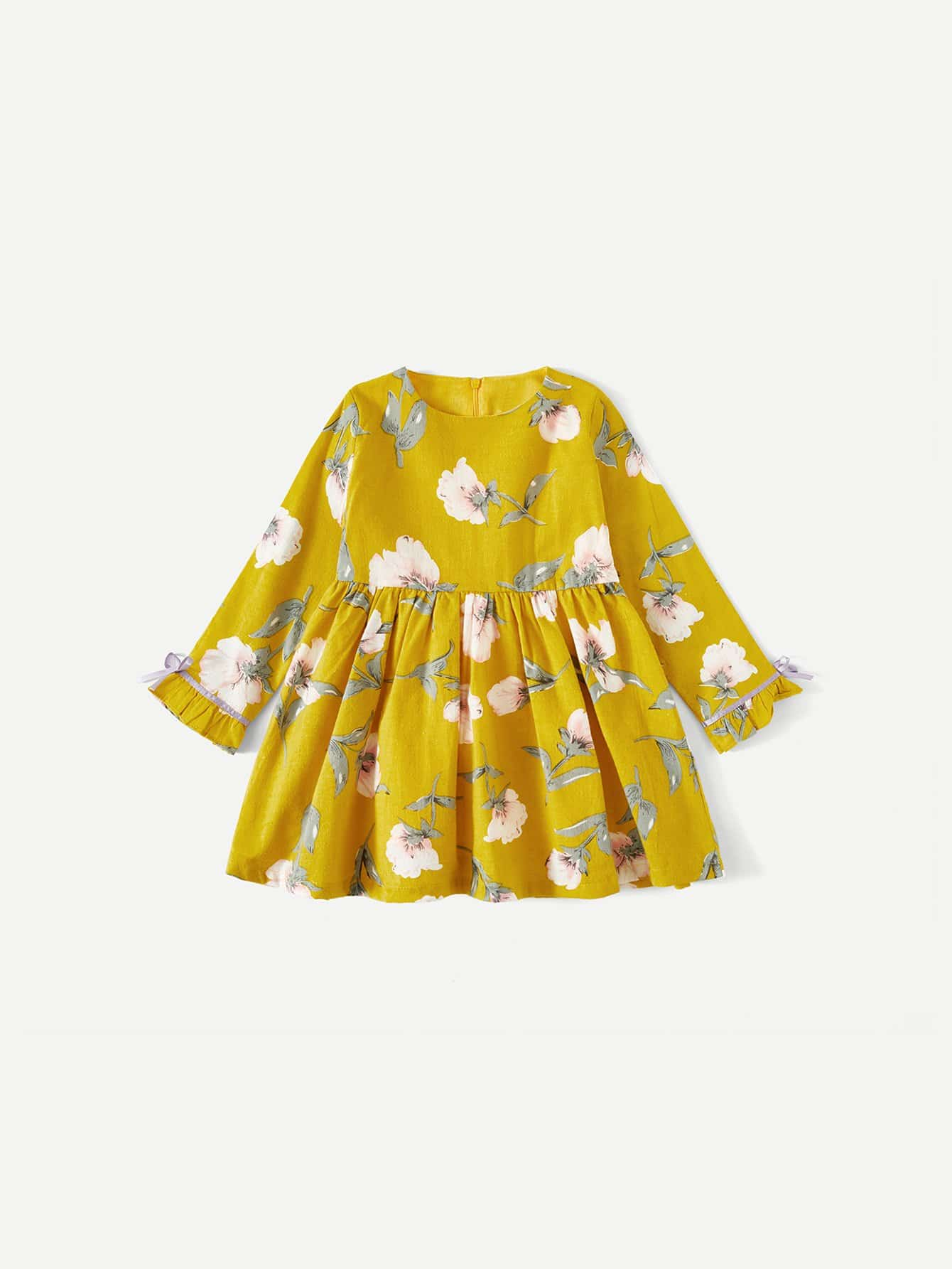 Girls Random Florals Dress