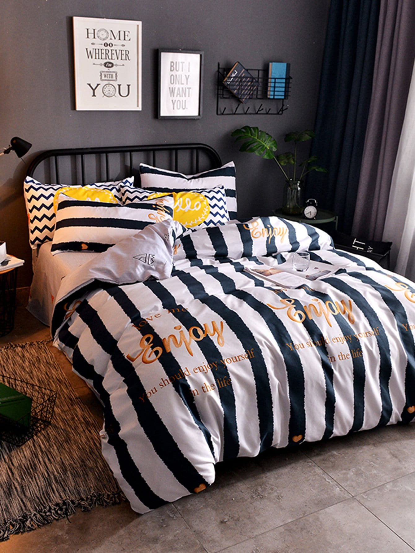 Striped & Letter Print Duvet Cover Set
