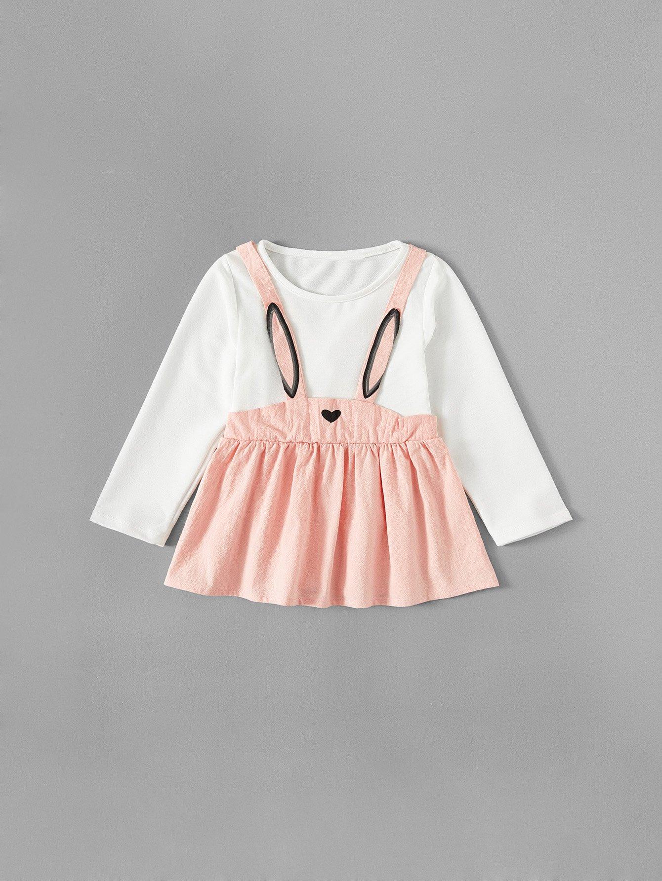 Girls Rabbit Print 2 In 1 Dress