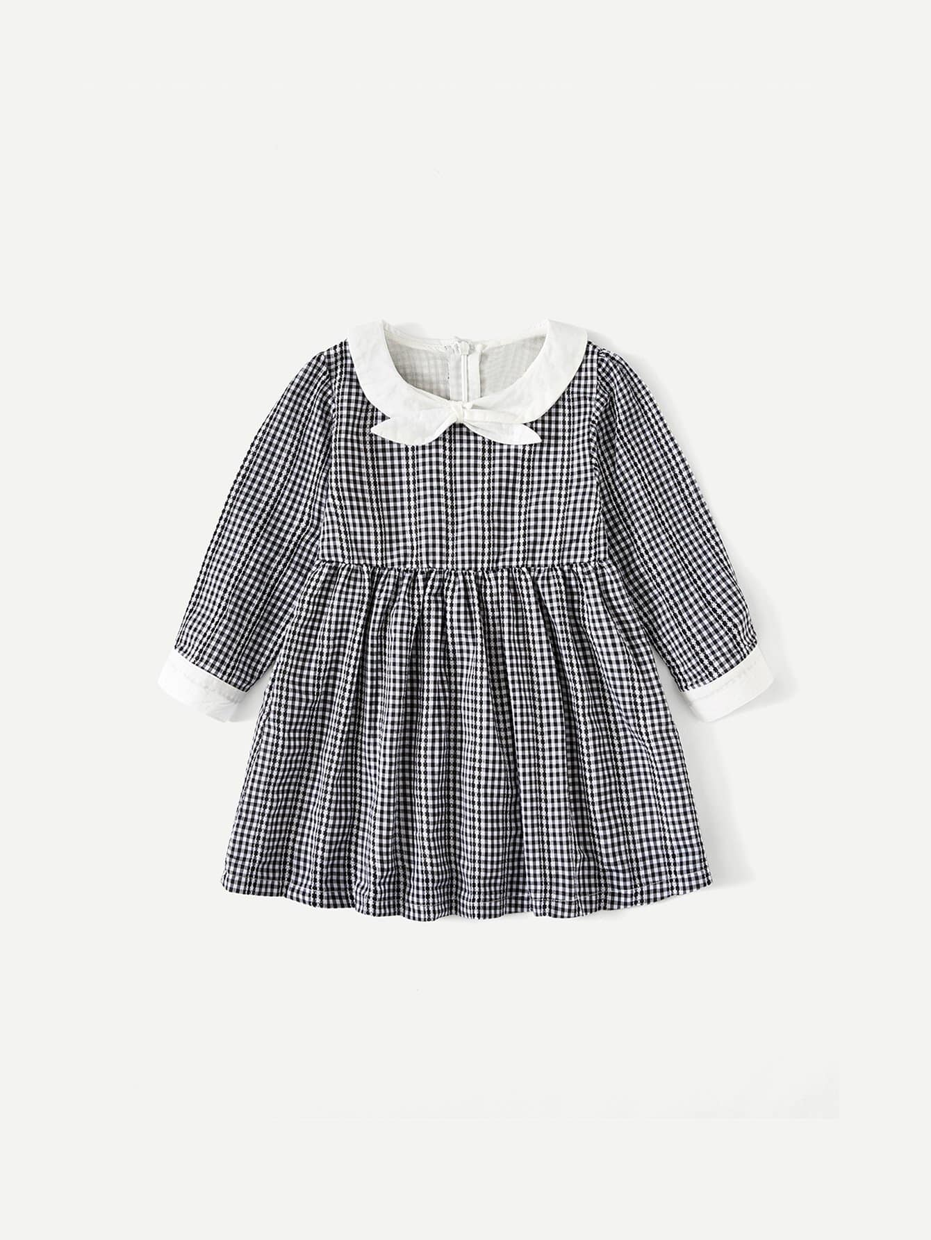 Girls Contrast Trim Gingham Dress
