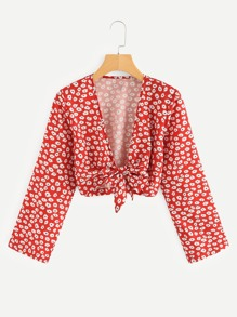 Knot Hem Calico Print Crop Kimono