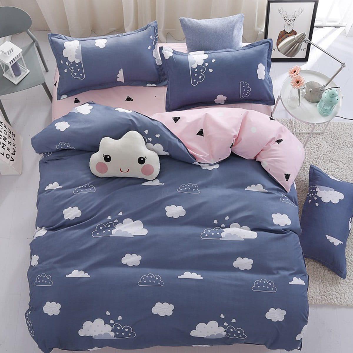 Cloud Print Bed Sheet Set