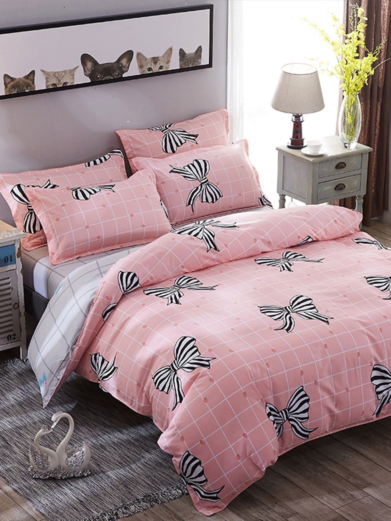 Bow & Grid Print Duvet Cover Set grid duvet cover set