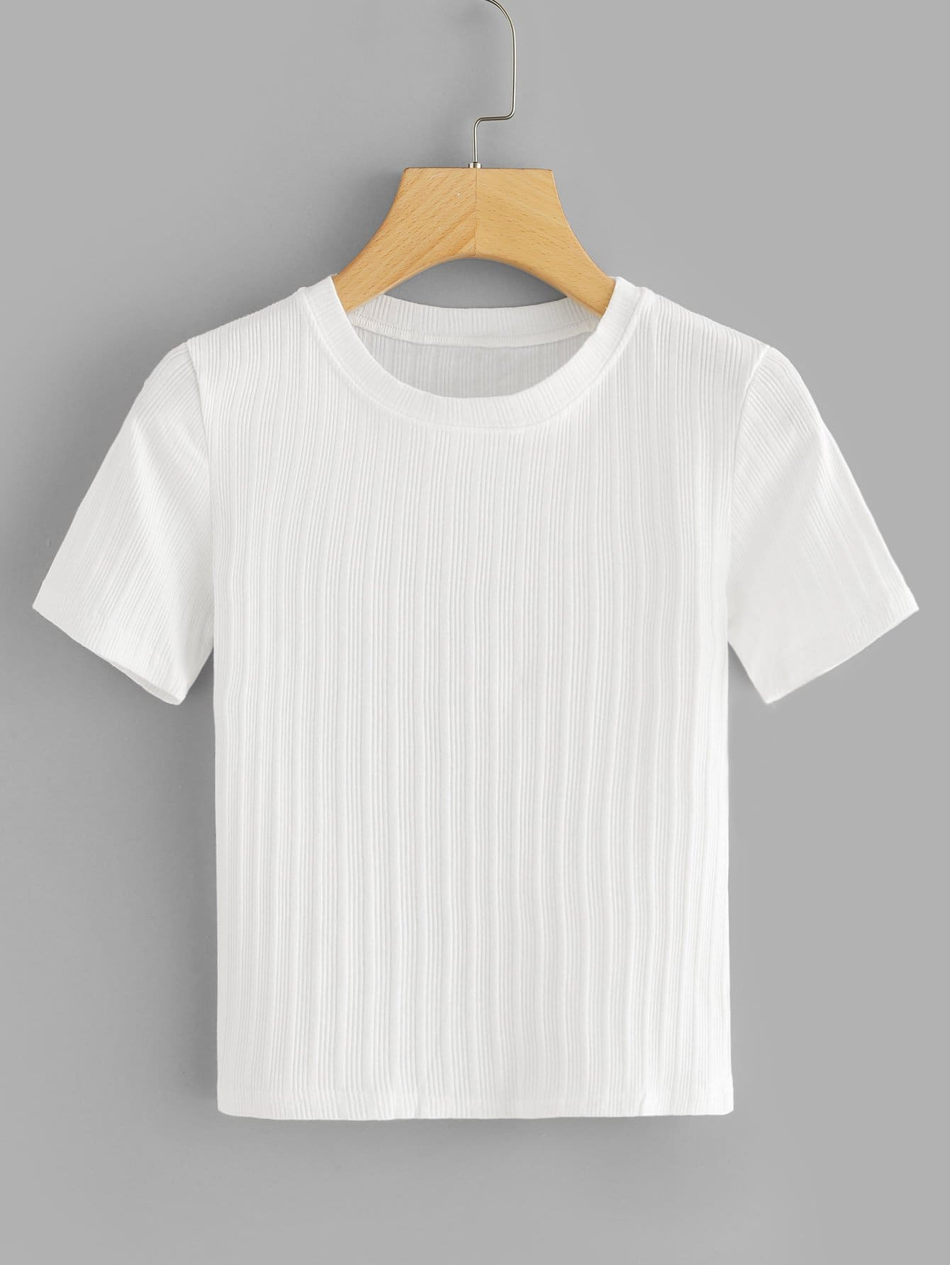 Solid Ribbed Crop Tee