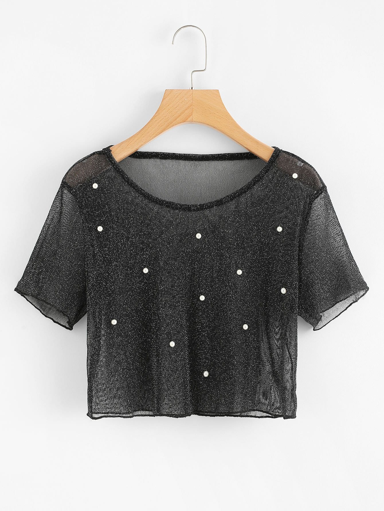 Sparkle Pearl Beading See-Through Crop Tee