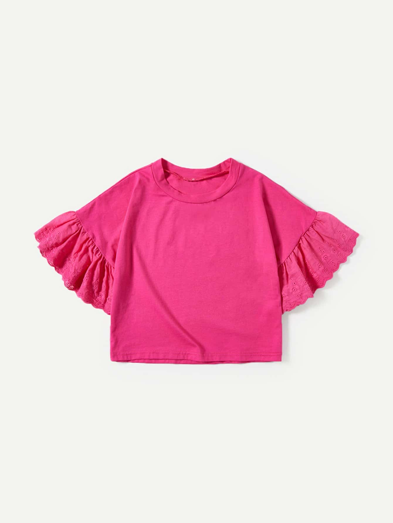 Girls Eyelet Embroidered Flounce Sleeve Tee