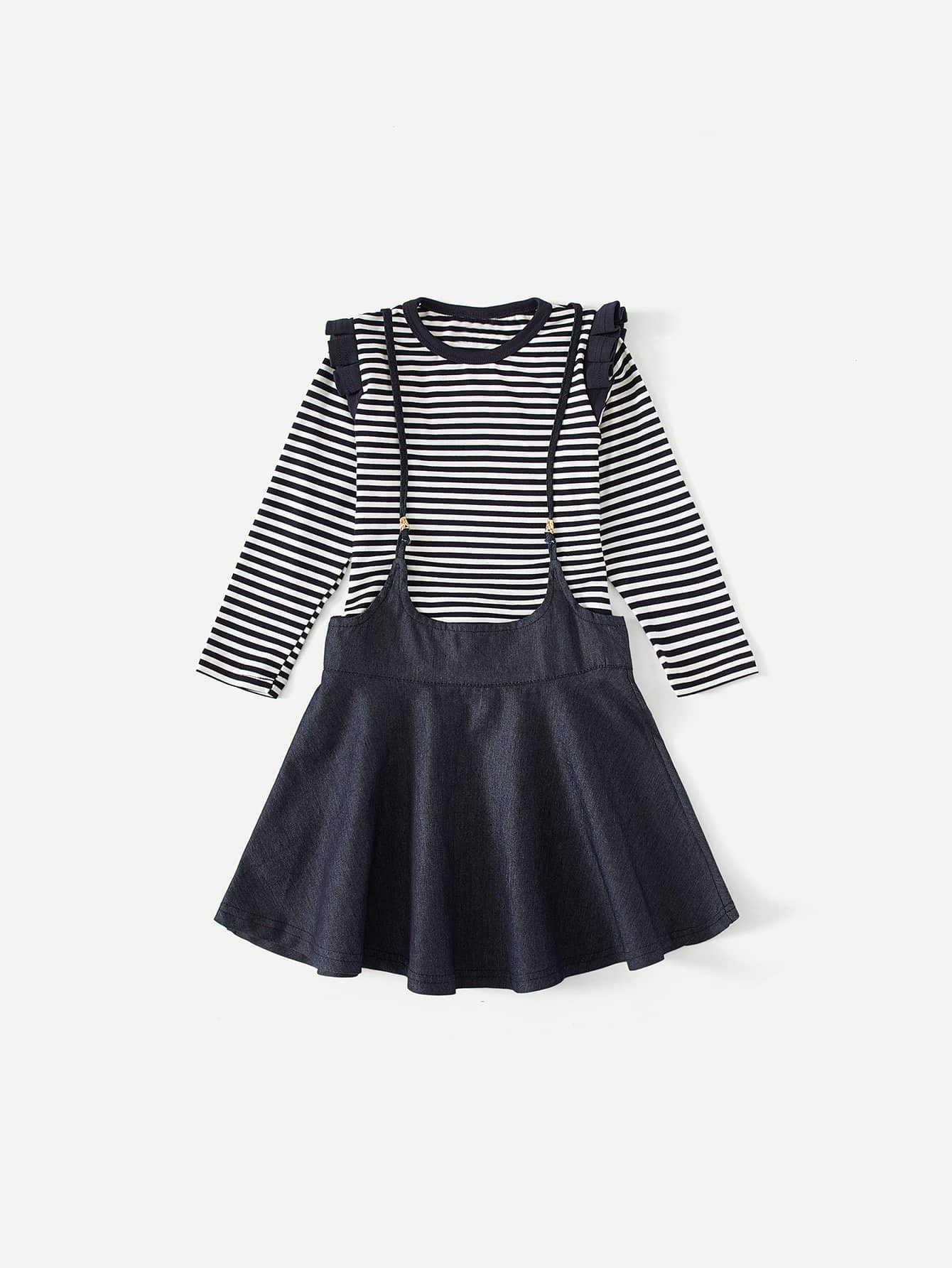 Kids Frill Trim Striped Tee With Skirt frill trim tee