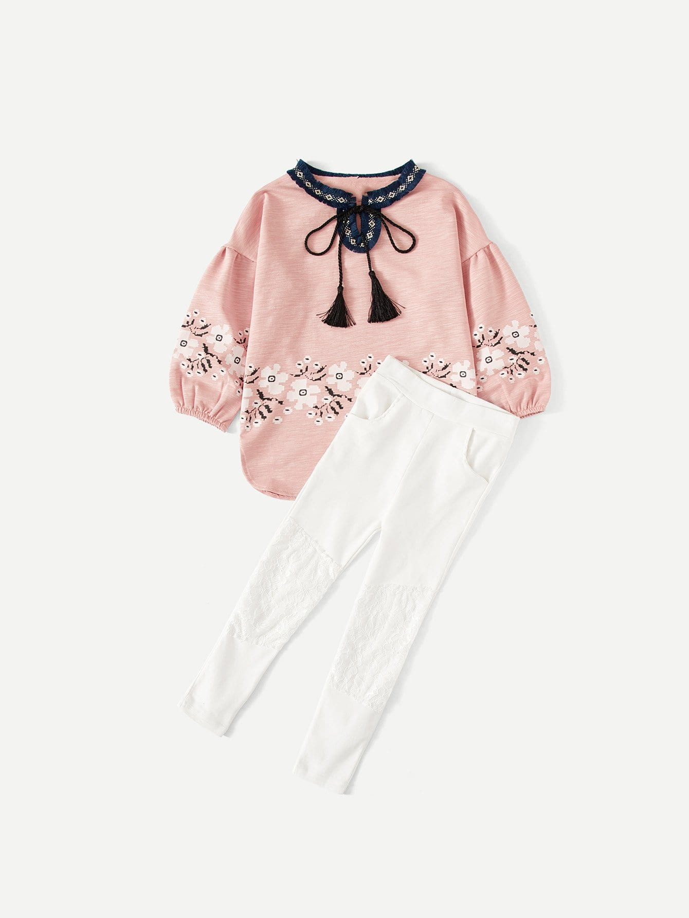 Kids Embroidered Tape Fringe Detail Florals Top With Leggings embroidered tape detail beading trim bardot top