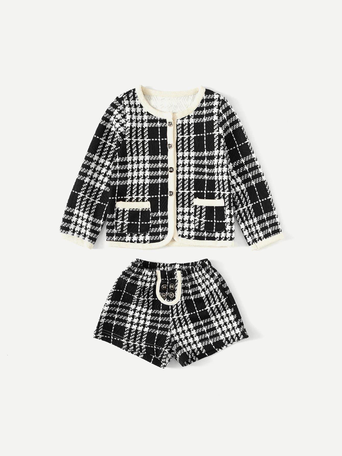 Купить Пальто для детей с контрастным покрытием с шортами, null, SheIn