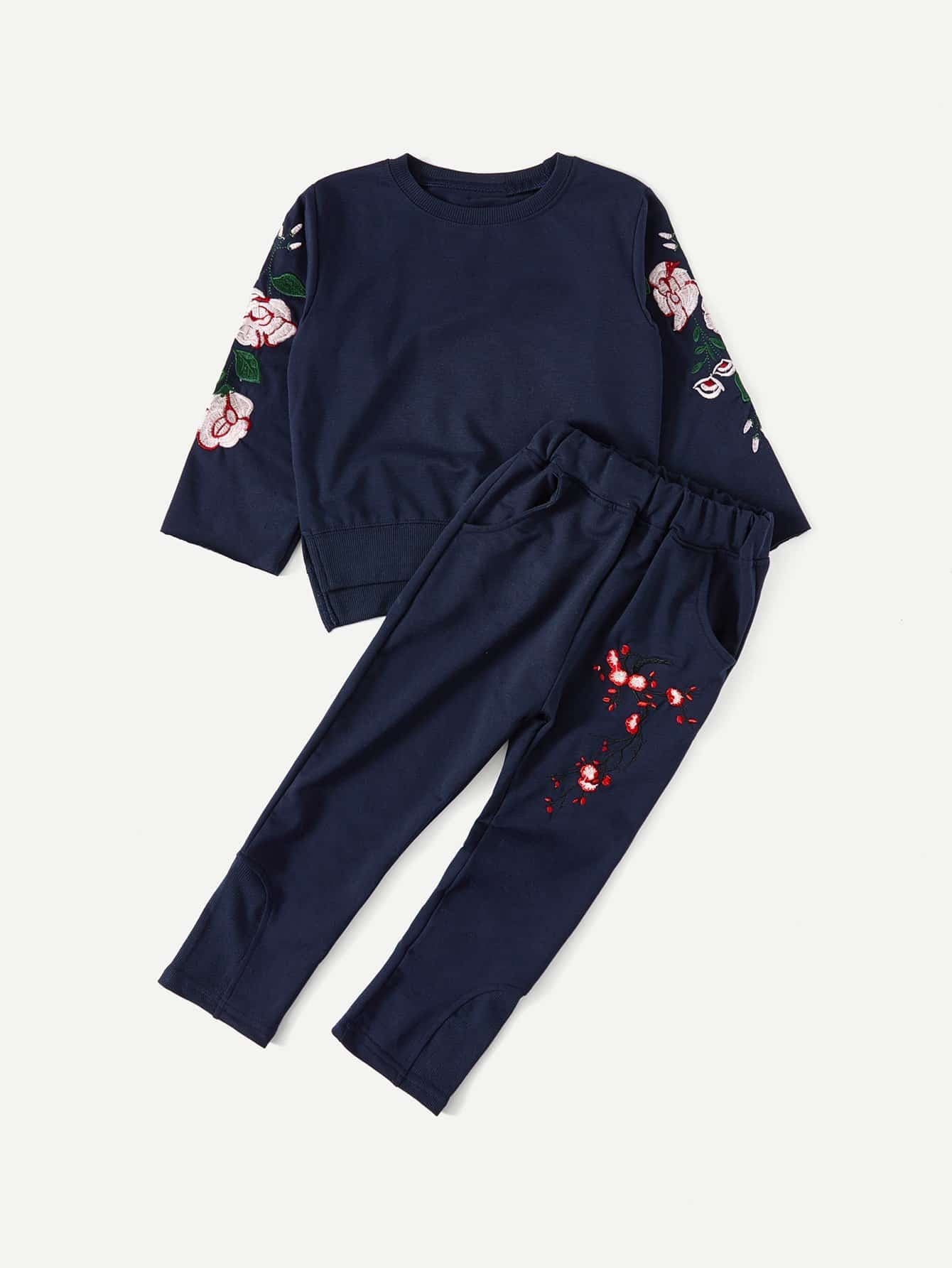 Boys Slit Side Embroidery Pullover With Pants косметичка mano 13422 black