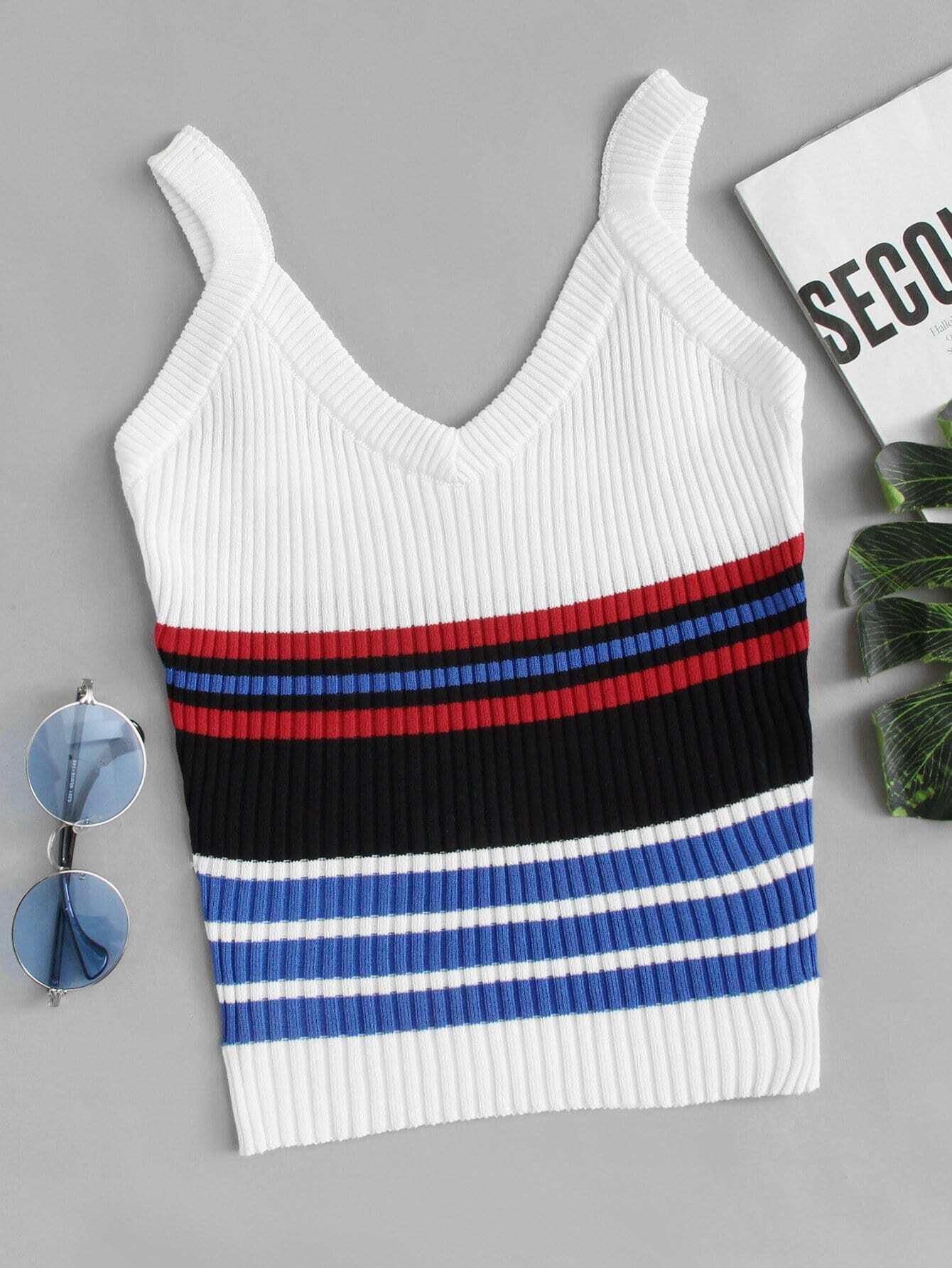 Multi-Stripe Ribbed Top rves180409105