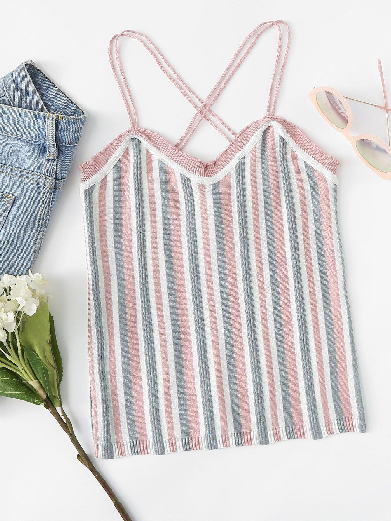 Multi-Stripe Criss Cross Knit Top