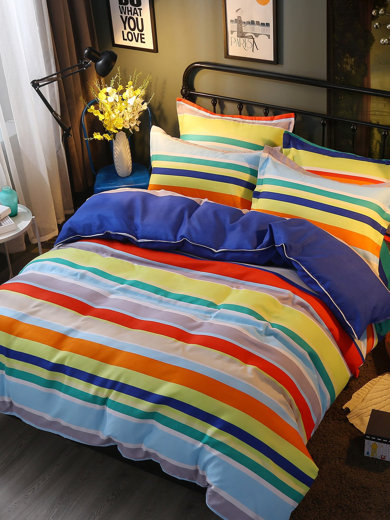 Rainbow Color Striped Bedding Set vertical striped bedding set