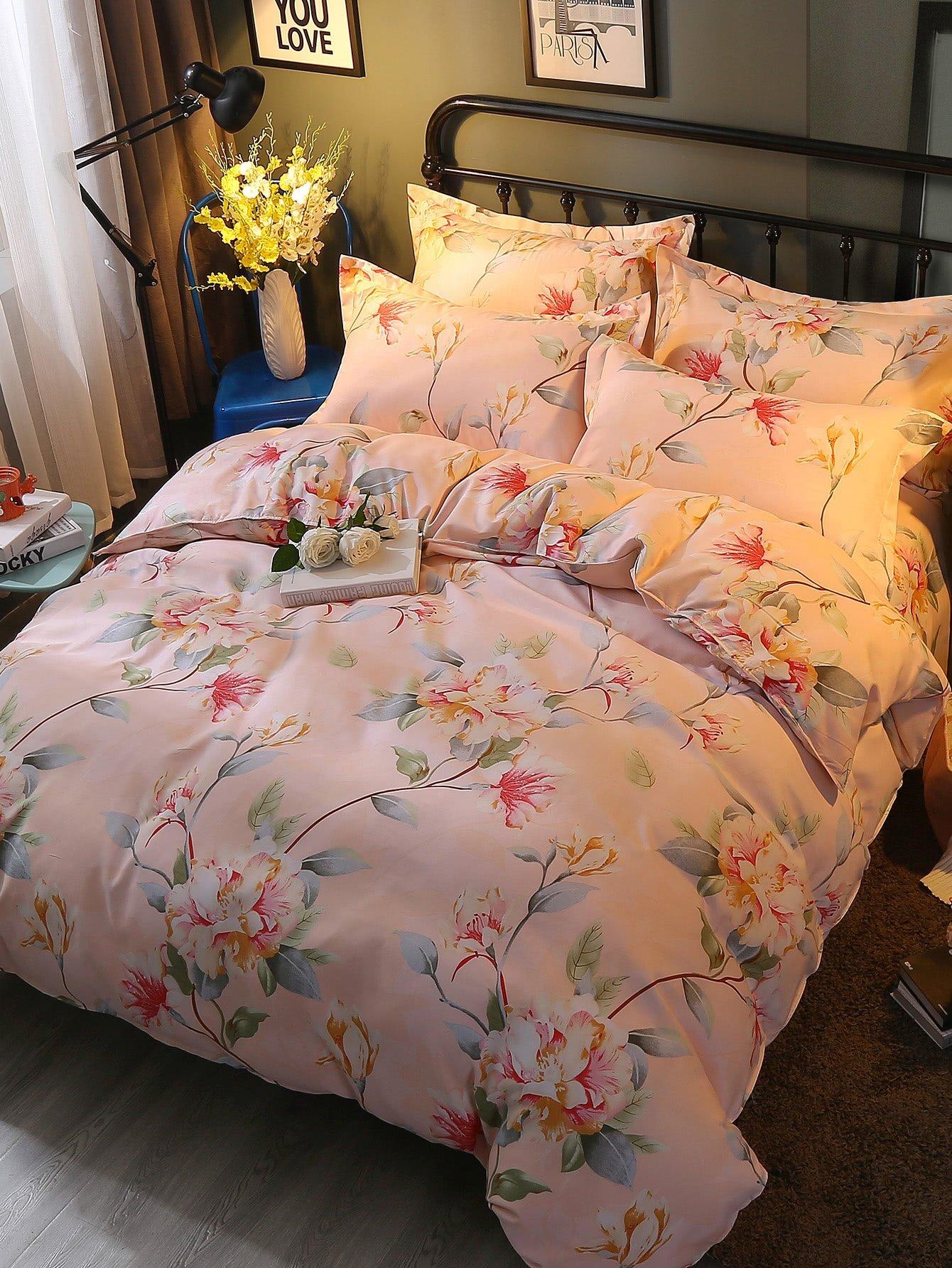 All Over Florals Print Bedding Set all over florals dip hem shirt