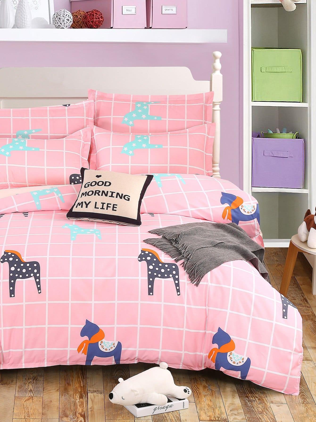 Купить Комплект для кровати в клетку с принтом мультики, null, SheIn