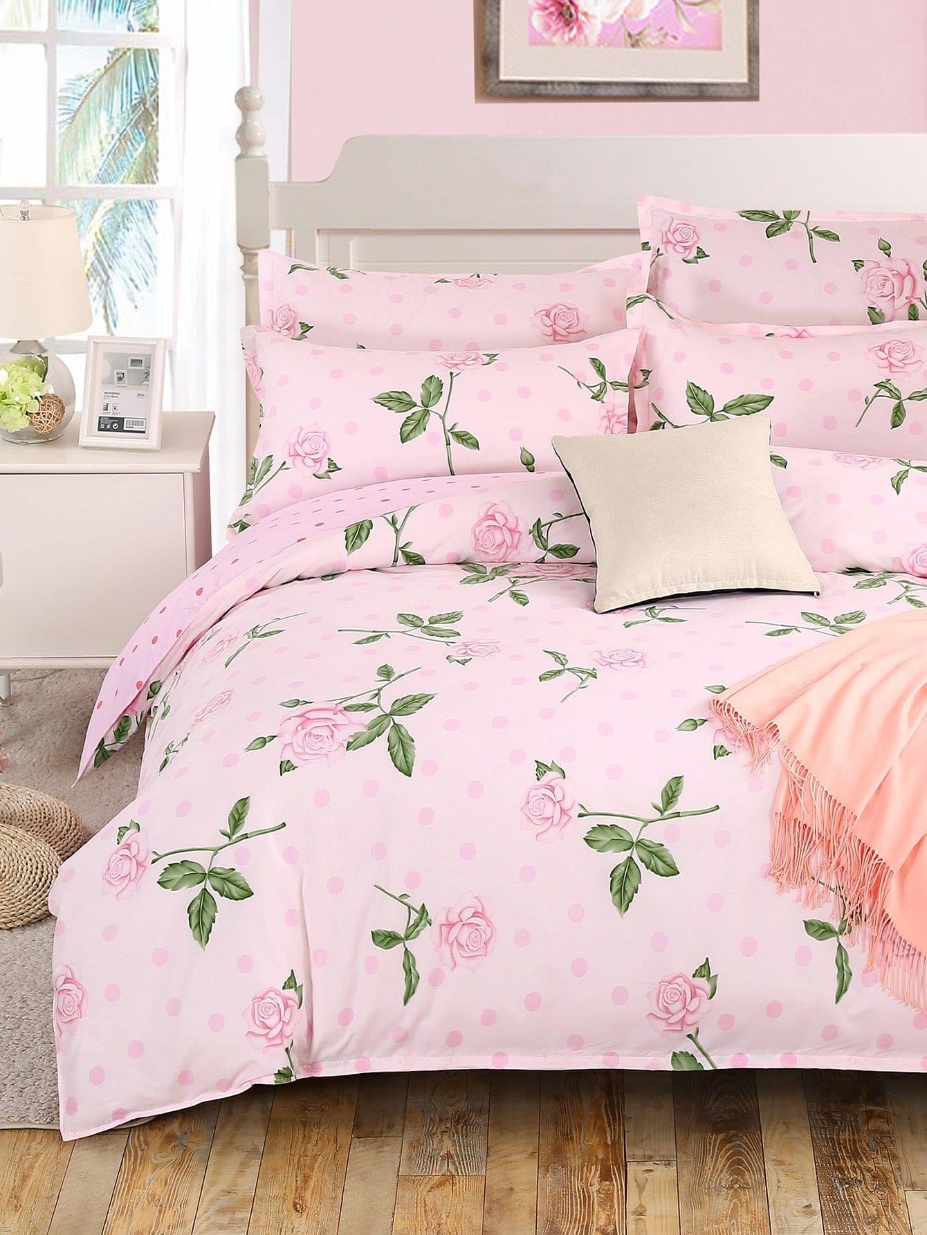 Купить Комплект для кровати с принтом розы, null, SheIn