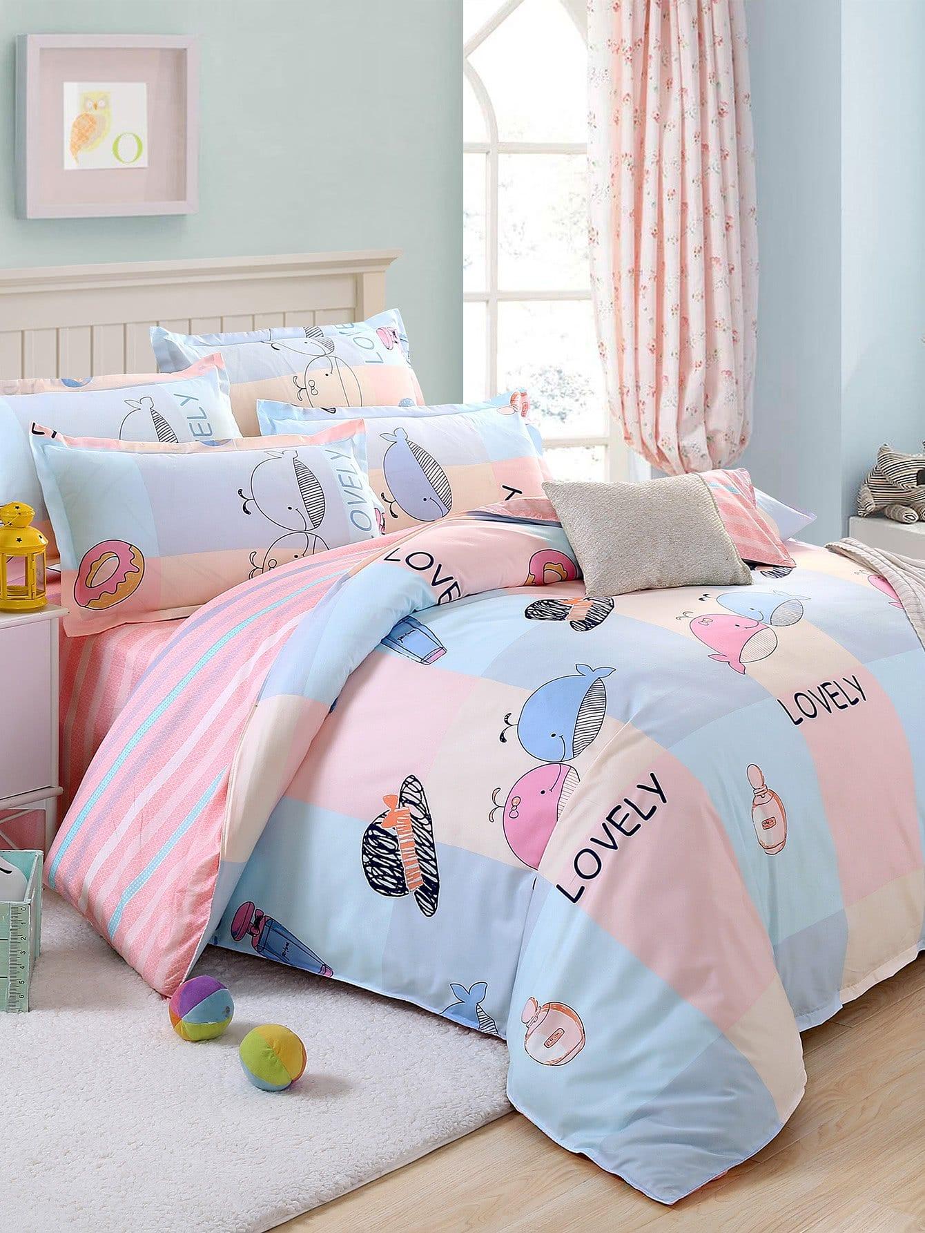 Купить Комплект для кровати с принтом мультики, null, SheIn