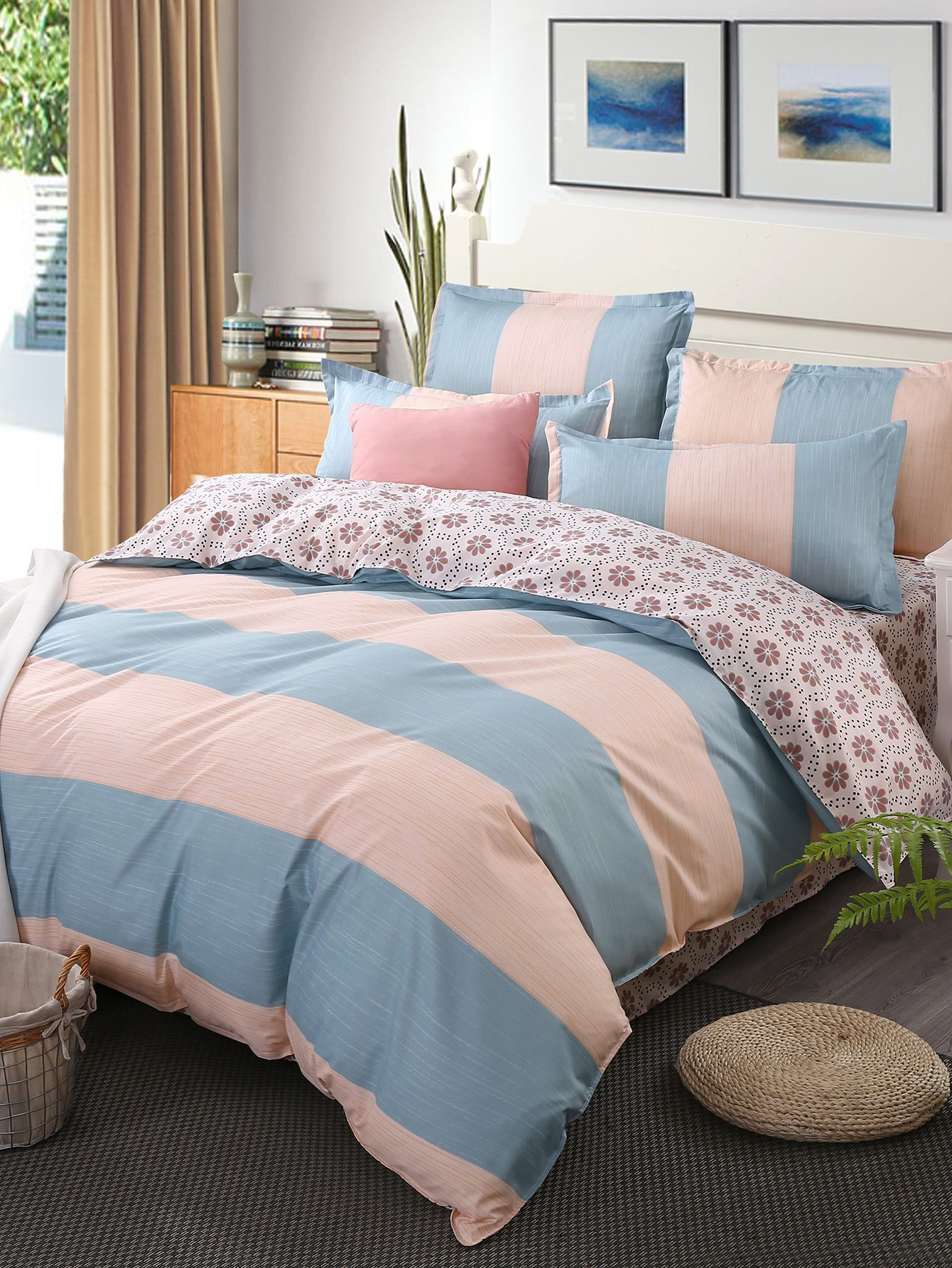 Calico & Striped Print Bedding Set vertical striped bedding set