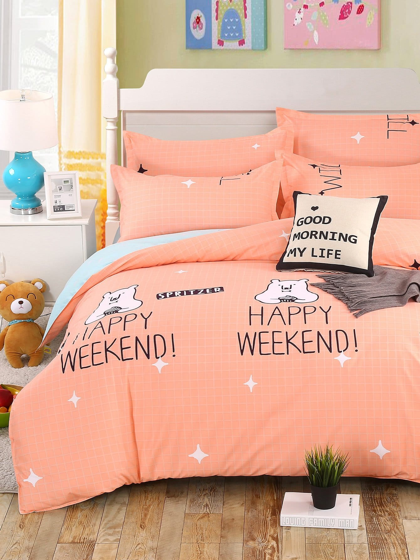 Cartoon & Letter Print Bedding Set letter print two tone bedding set