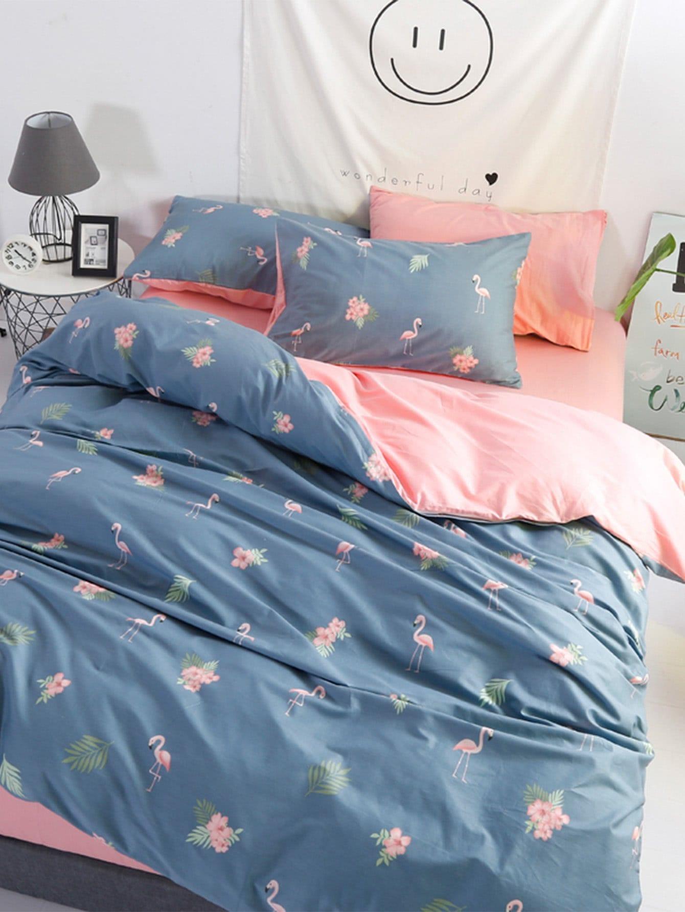 Flamingo & Flower Print Bedding Set flower print bedding set