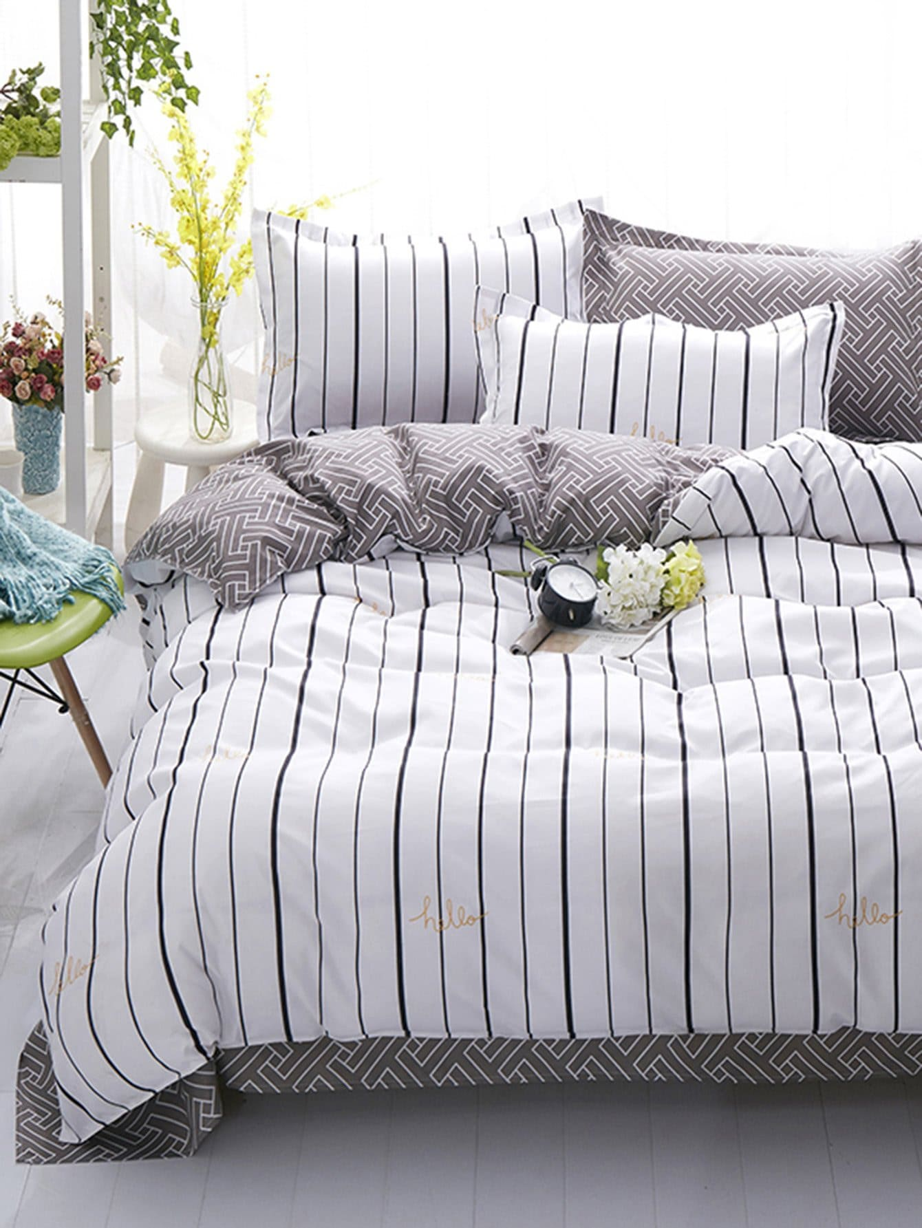 Vertical Striped Bedding Set vertical striped bedding set