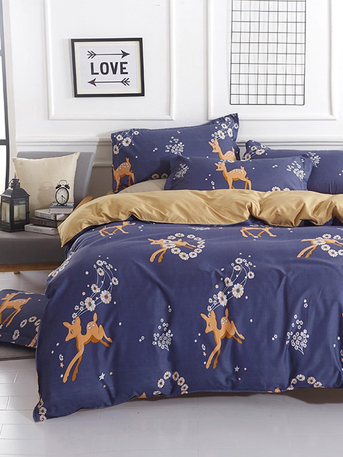 Deer & Flower Print Bedding Set flower print bedding set