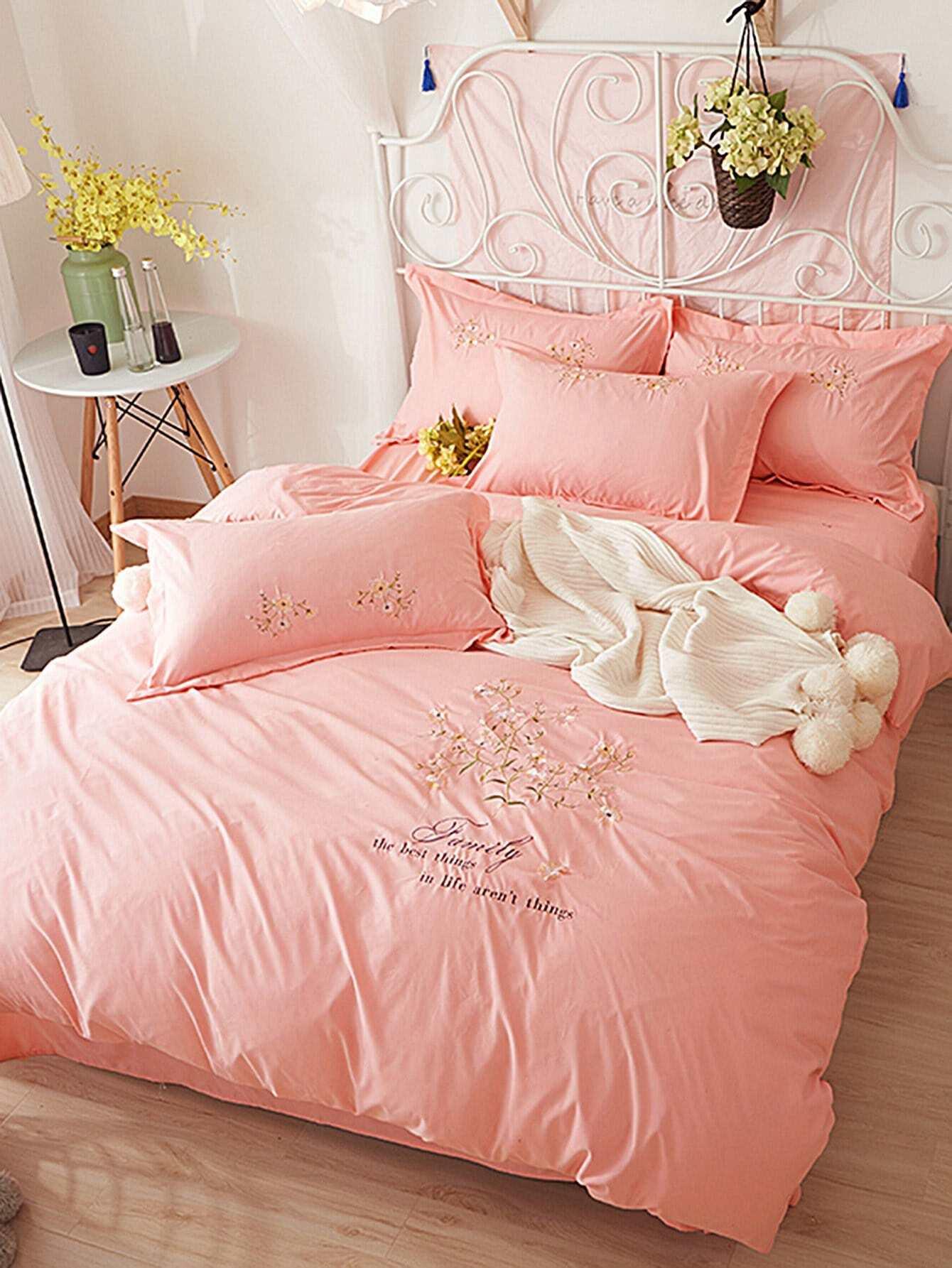 Flower Embroidery Bedding Set flower print bedding set