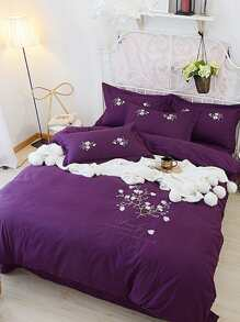 Flower Embroidery Bedding Set ROMWE