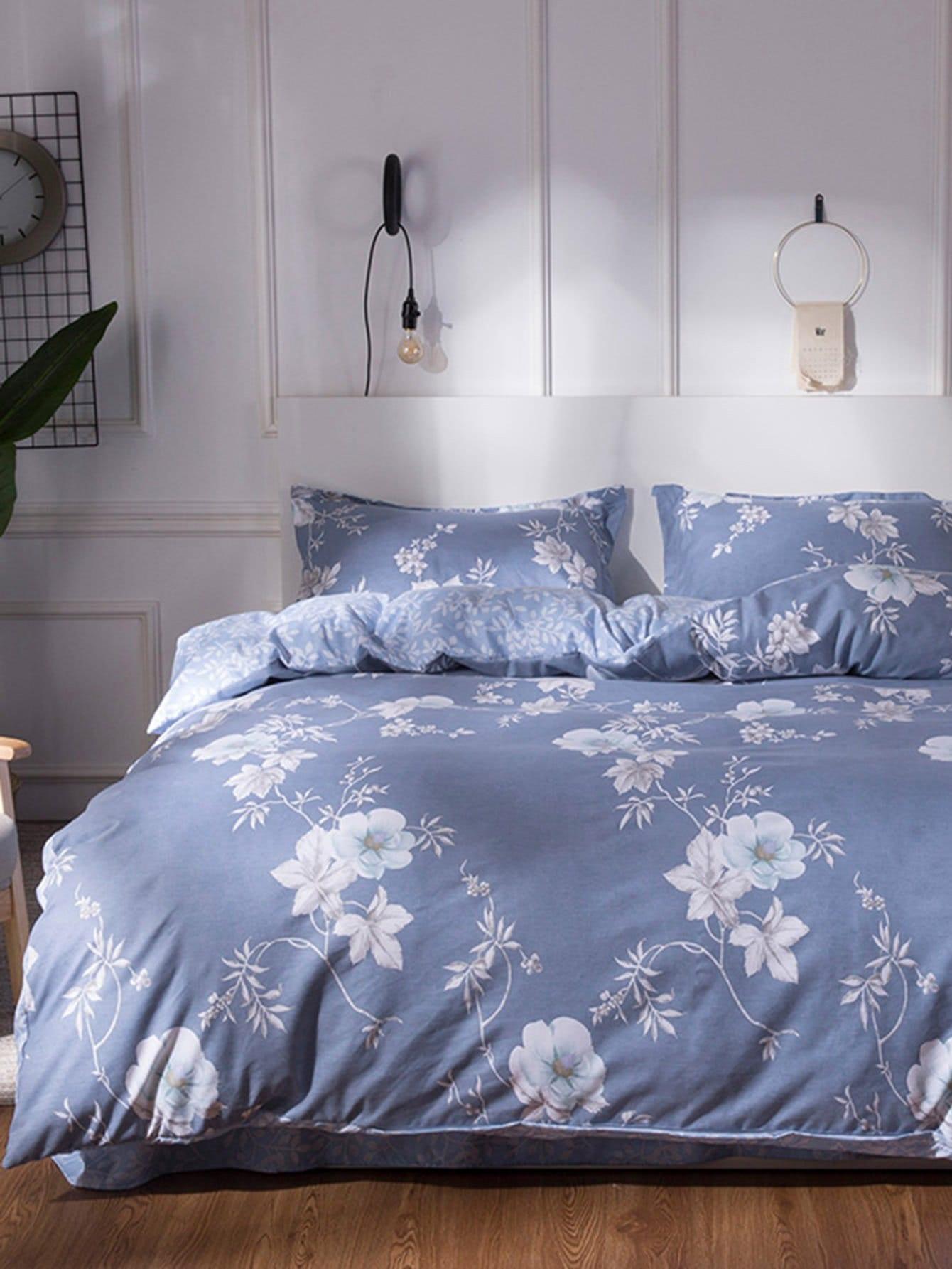 Floral Overlay Print Bedding Set 1 5m 4pcs floral print bedding set