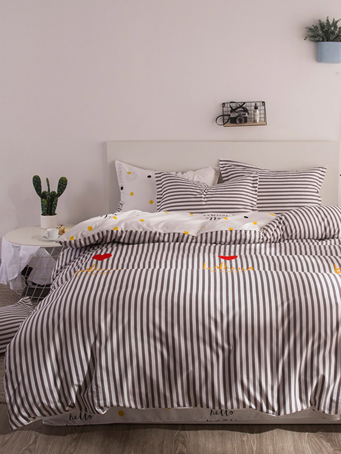 Striped Print Bedding Set vertical striped bedding set