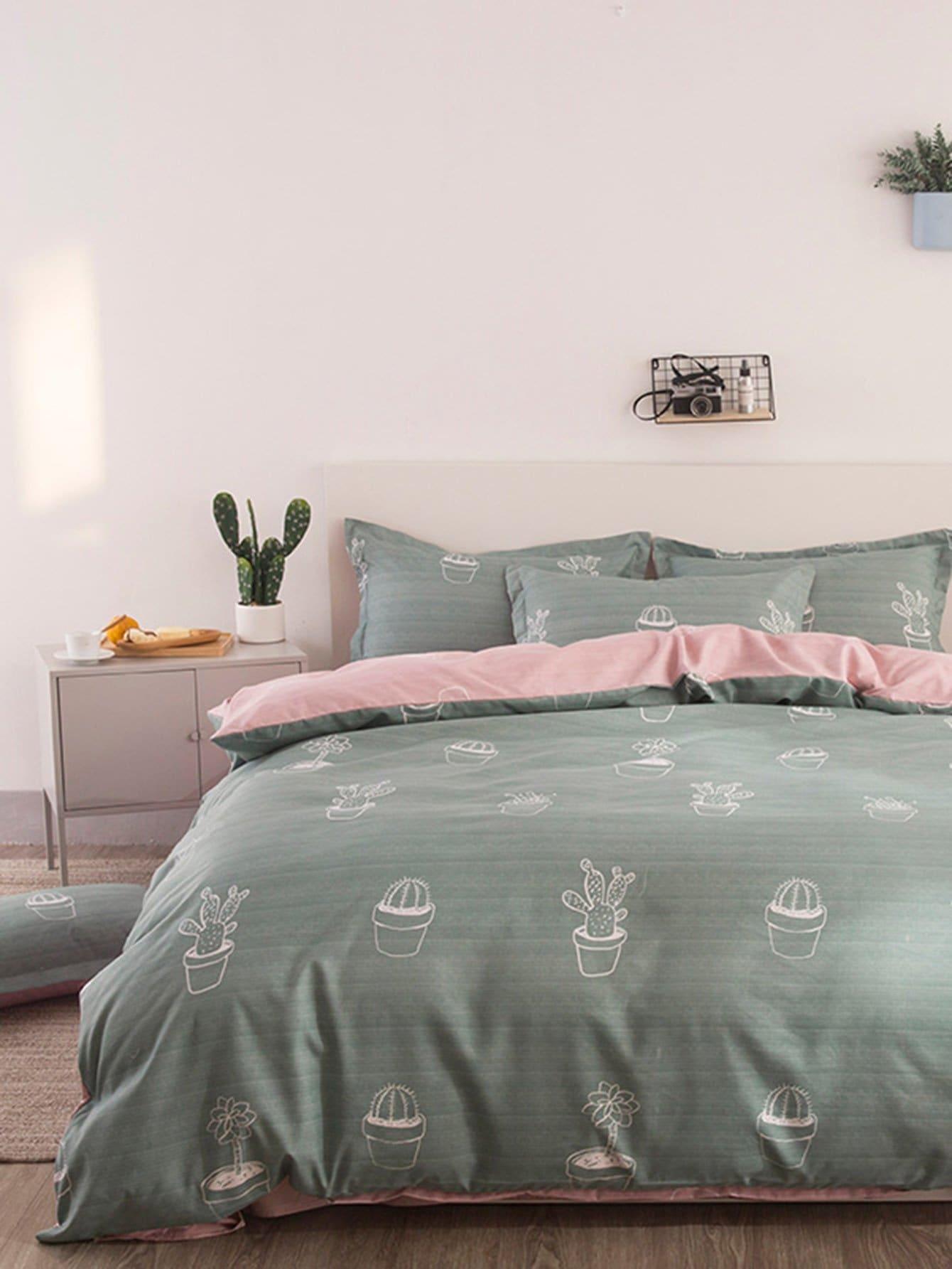 Cactus Print Bedding Set heart print bedding set